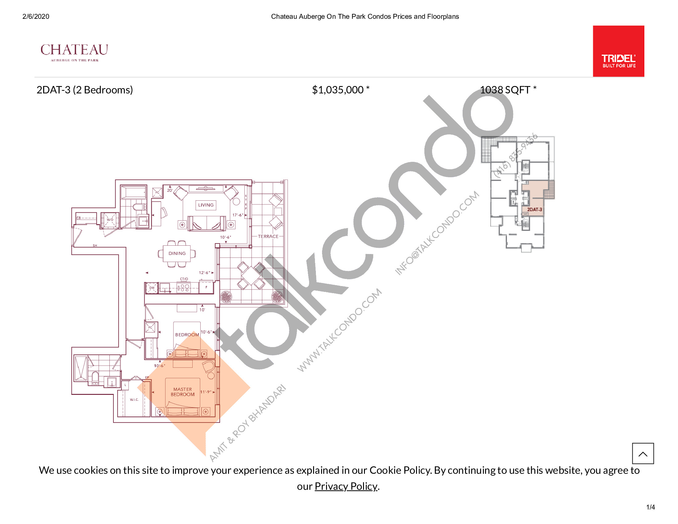 2DAT-3 Floor Plan at Chateau Auberge On The Park Condos - 1038 sq.ft
