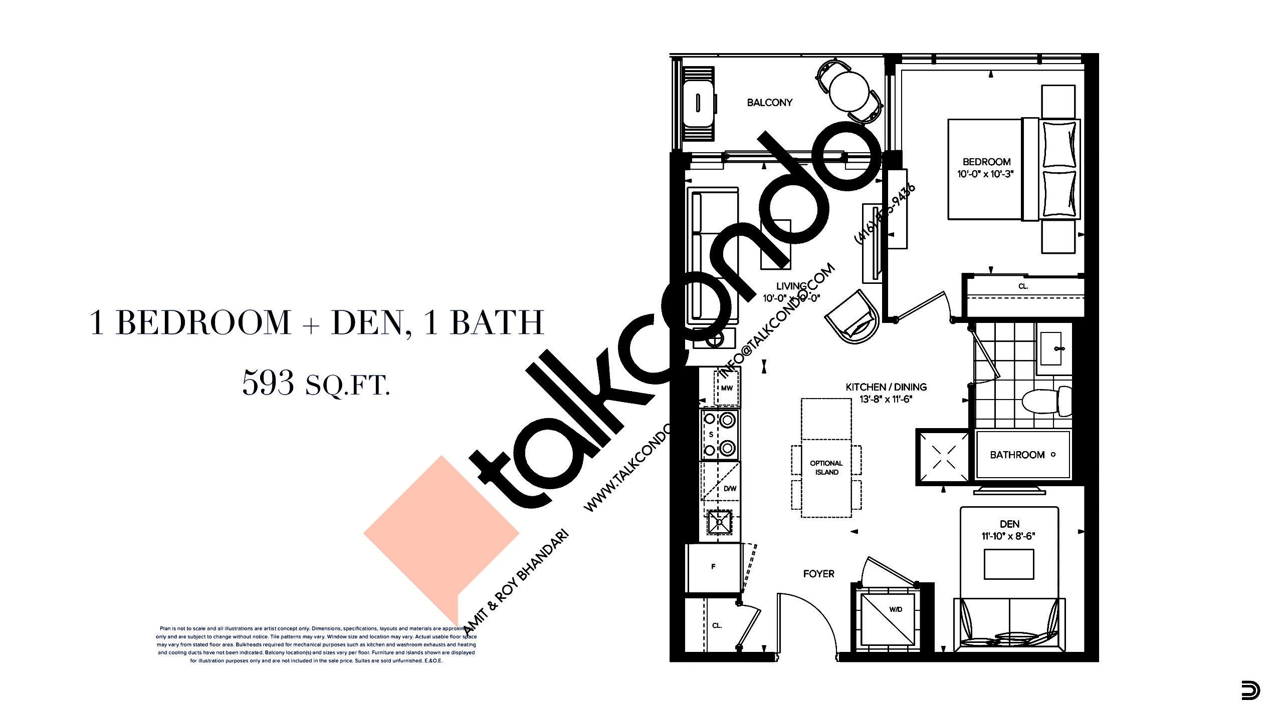 593 SF Floor Plan at Distrikt Trailside 2.0 Condos - 593 sq.ft