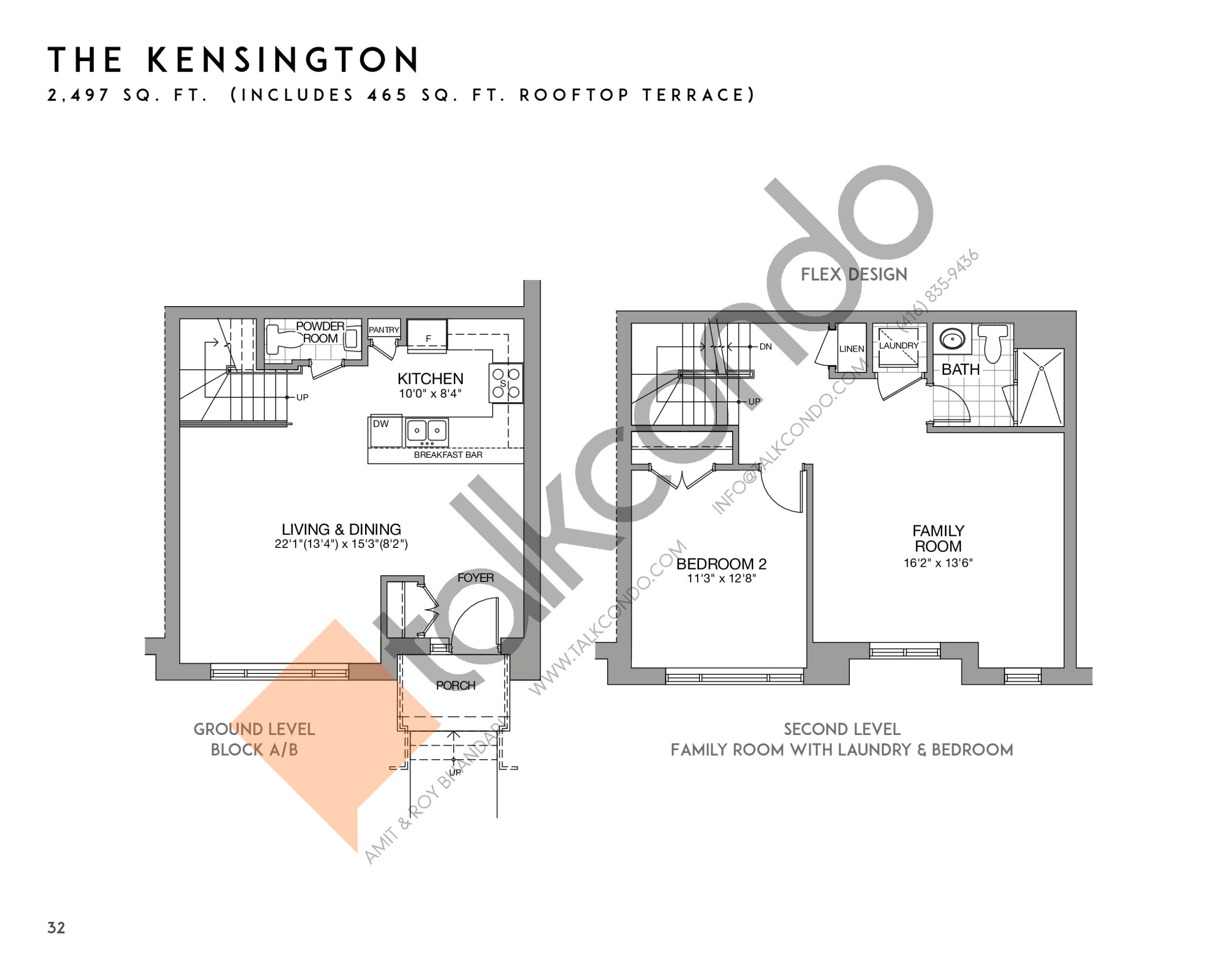 The Kensington (1/2) Floor Plan at Eleven Altamont Towns - 2497 sq.ft