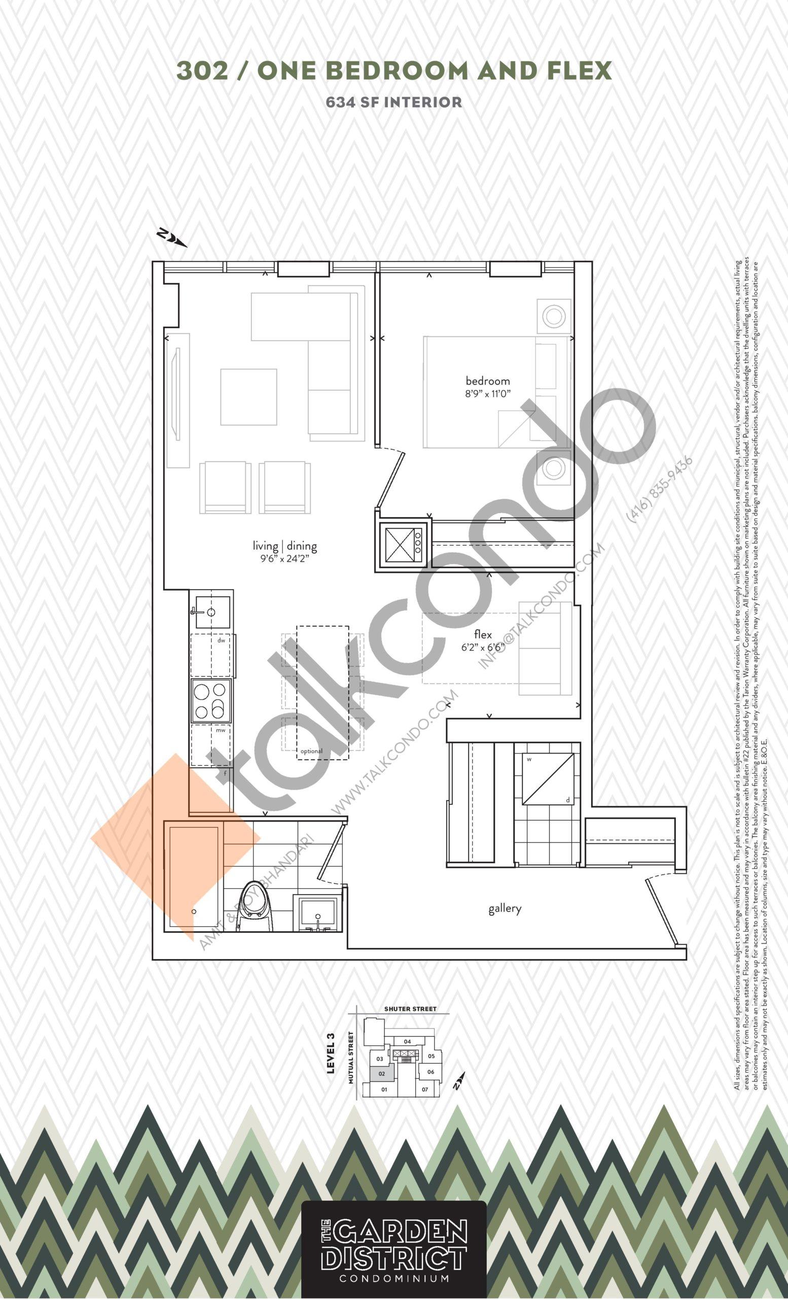 302 Floor Plan at Garden District Condos - 634 sq.ft