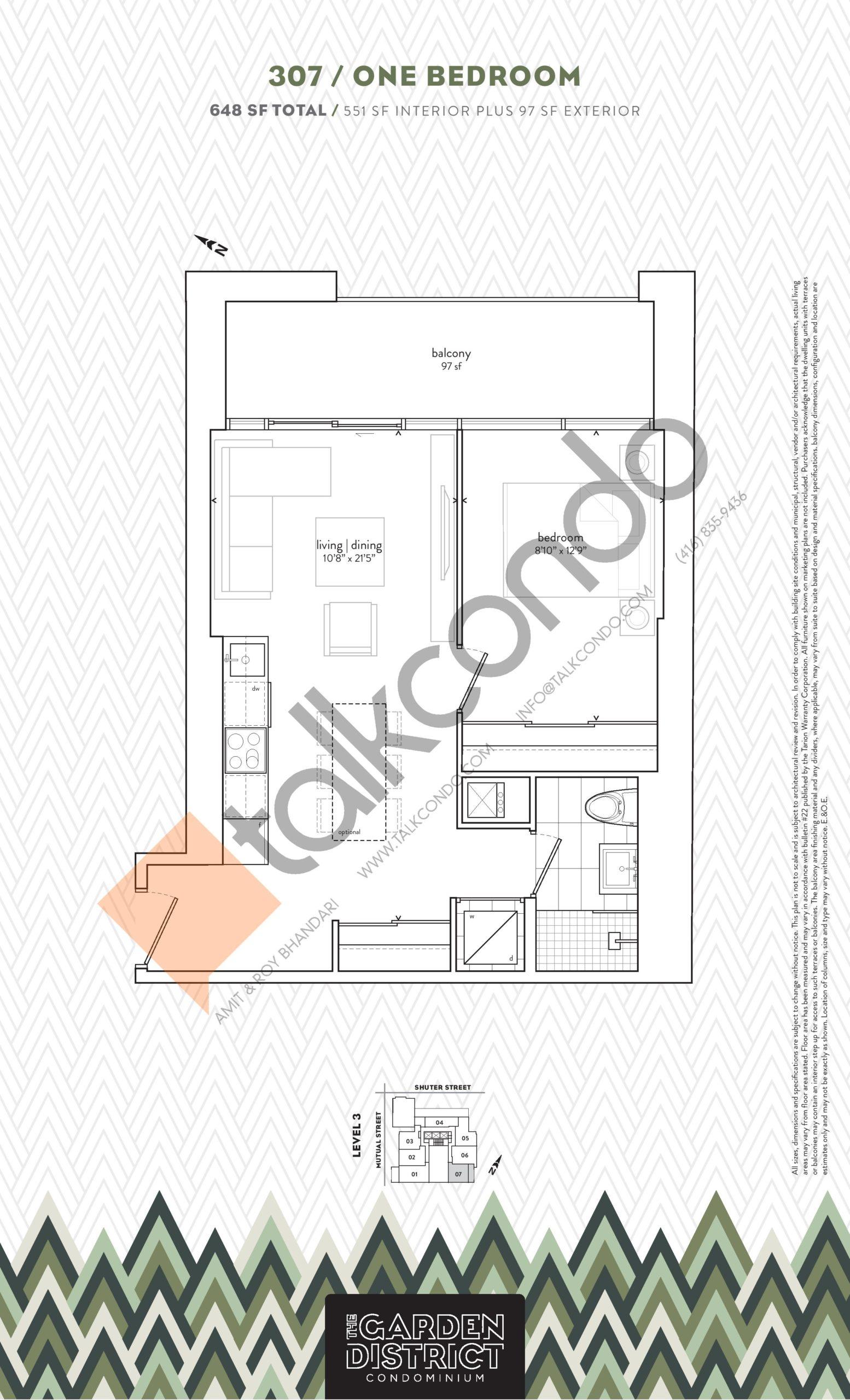 307 Floor Plan at Garden District Condos - 551 sq.ft