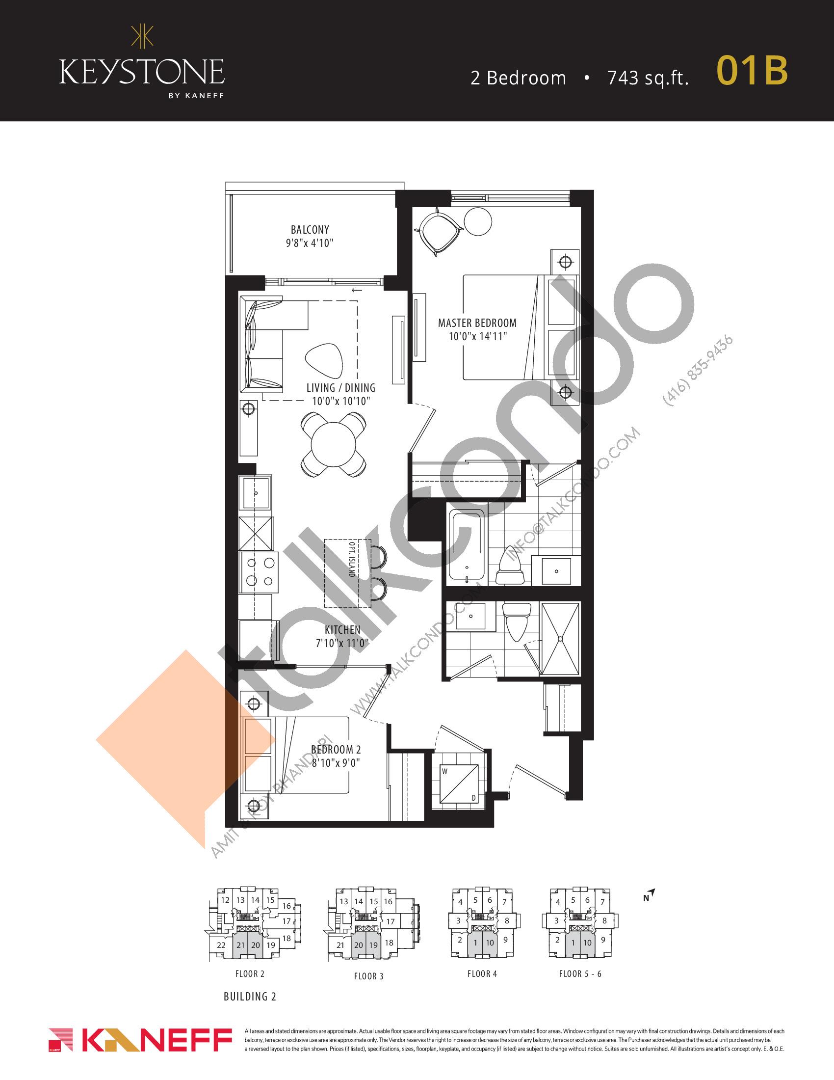 01B Floor Plan at Keystone Condos Phase 2 - 743 sq.ft