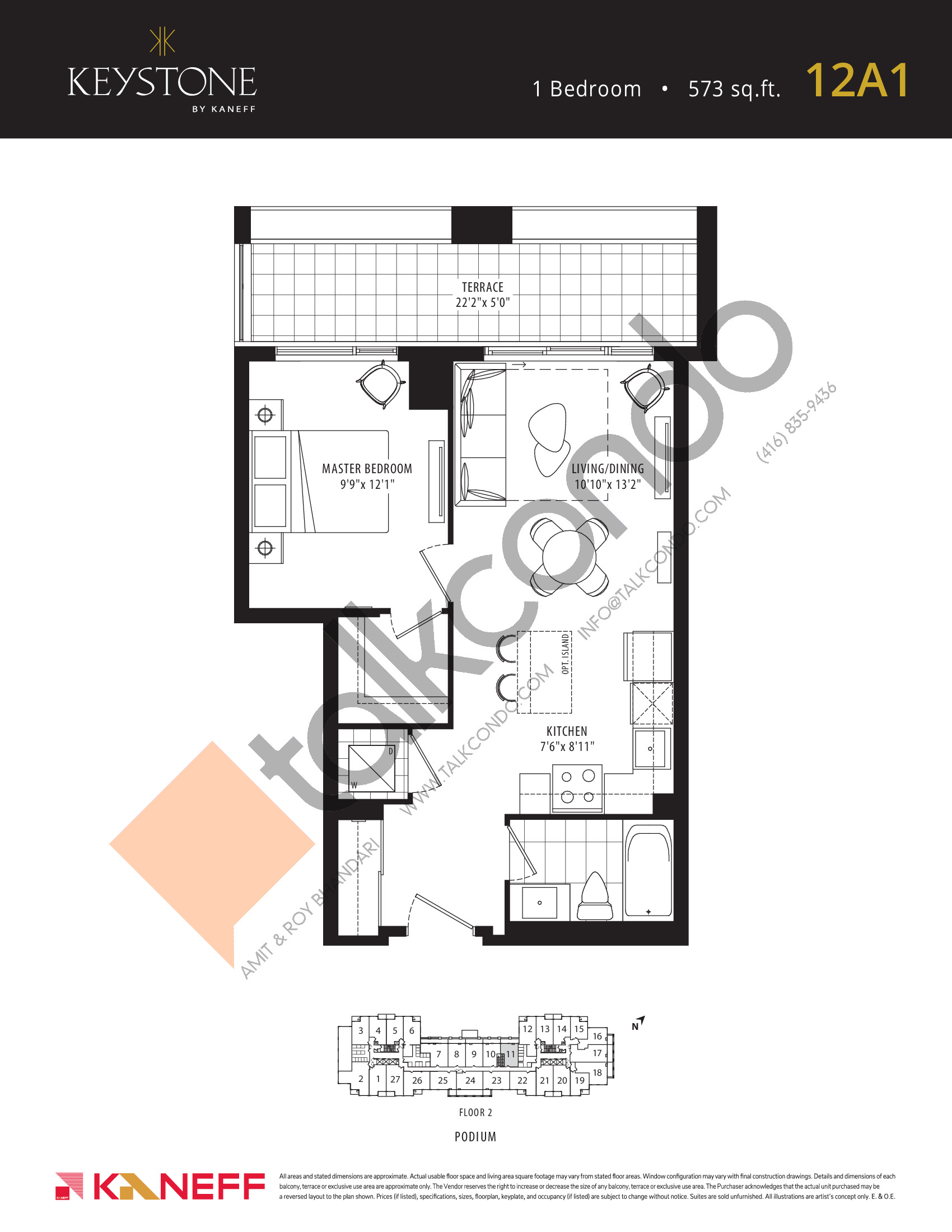 12A1 Floor Plan at Keystone Condos Phase 2 - 573 sq.ft