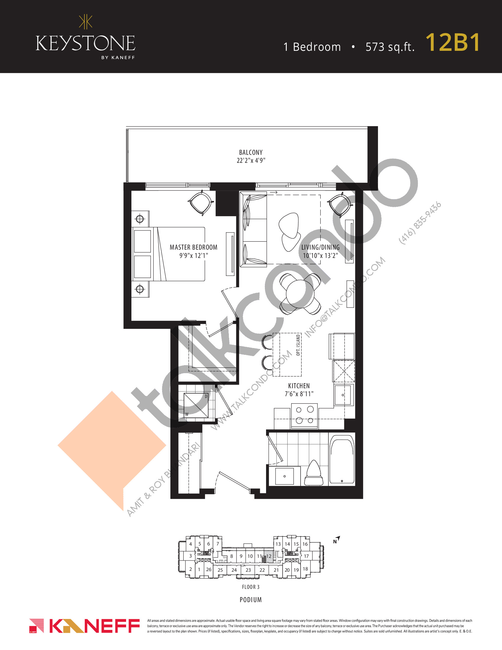12B1 Floor Plan at Keystone Condos Phase 2 - 573 sq.ft