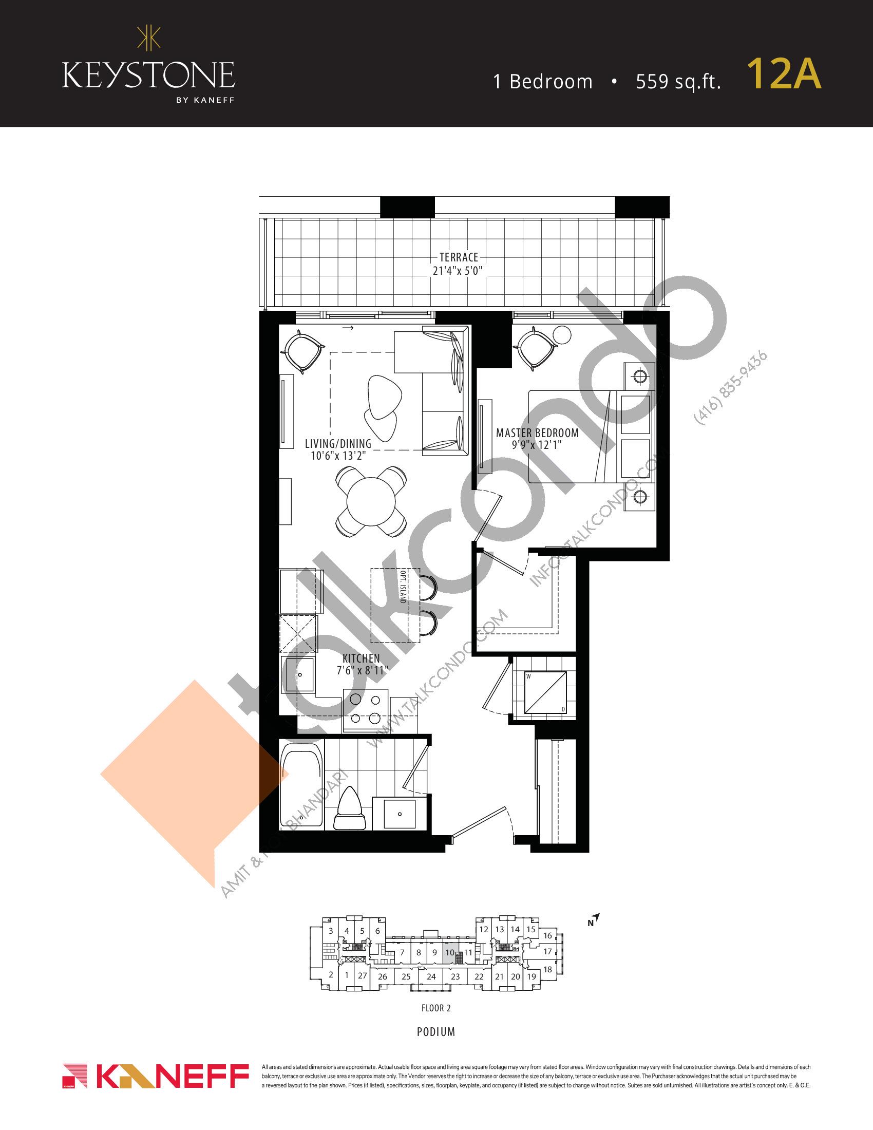 12A Floor Plan at Keystone Condos Phase 2 - 559 sq.ft
