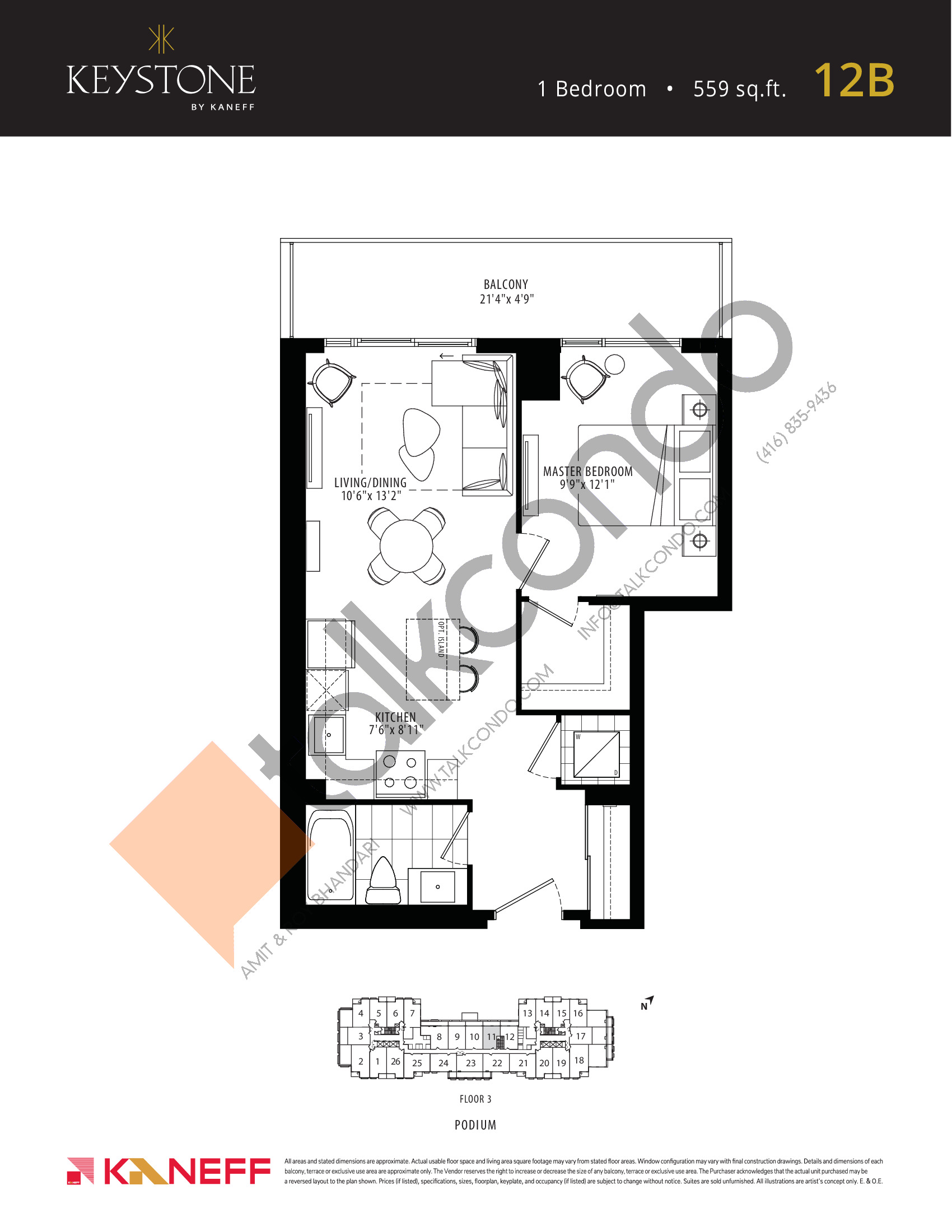 12B Floor Plan at Keystone Condos Phase 2 - 559 sq.ft