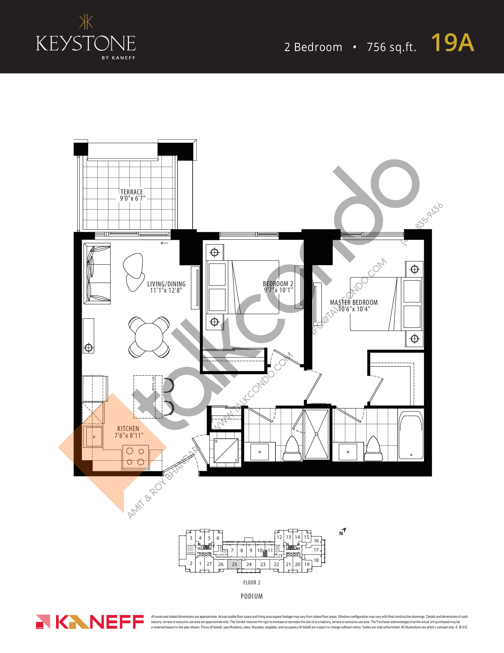 19A Floor Plan at Keystone Condos Phase 2 - 756 sq.ft