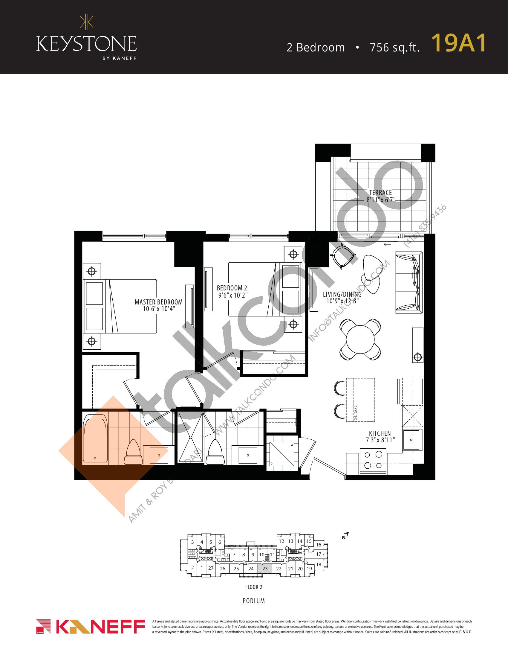 19A1 Floor Plan at Keystone Condos Phase 2 - 756 sq.ft