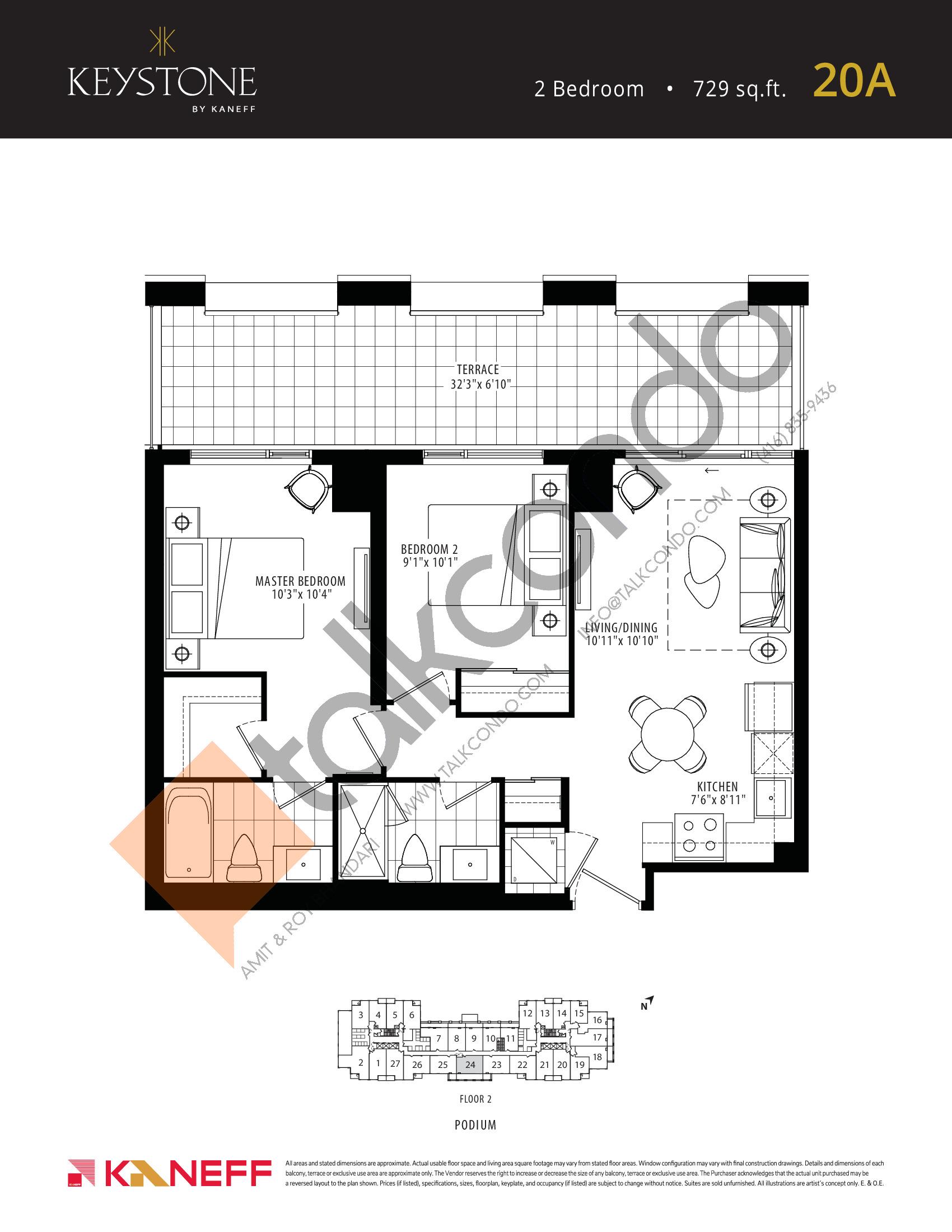 20A Floor Plan at Keystone Condos Phase 2 - 729 sq.ft