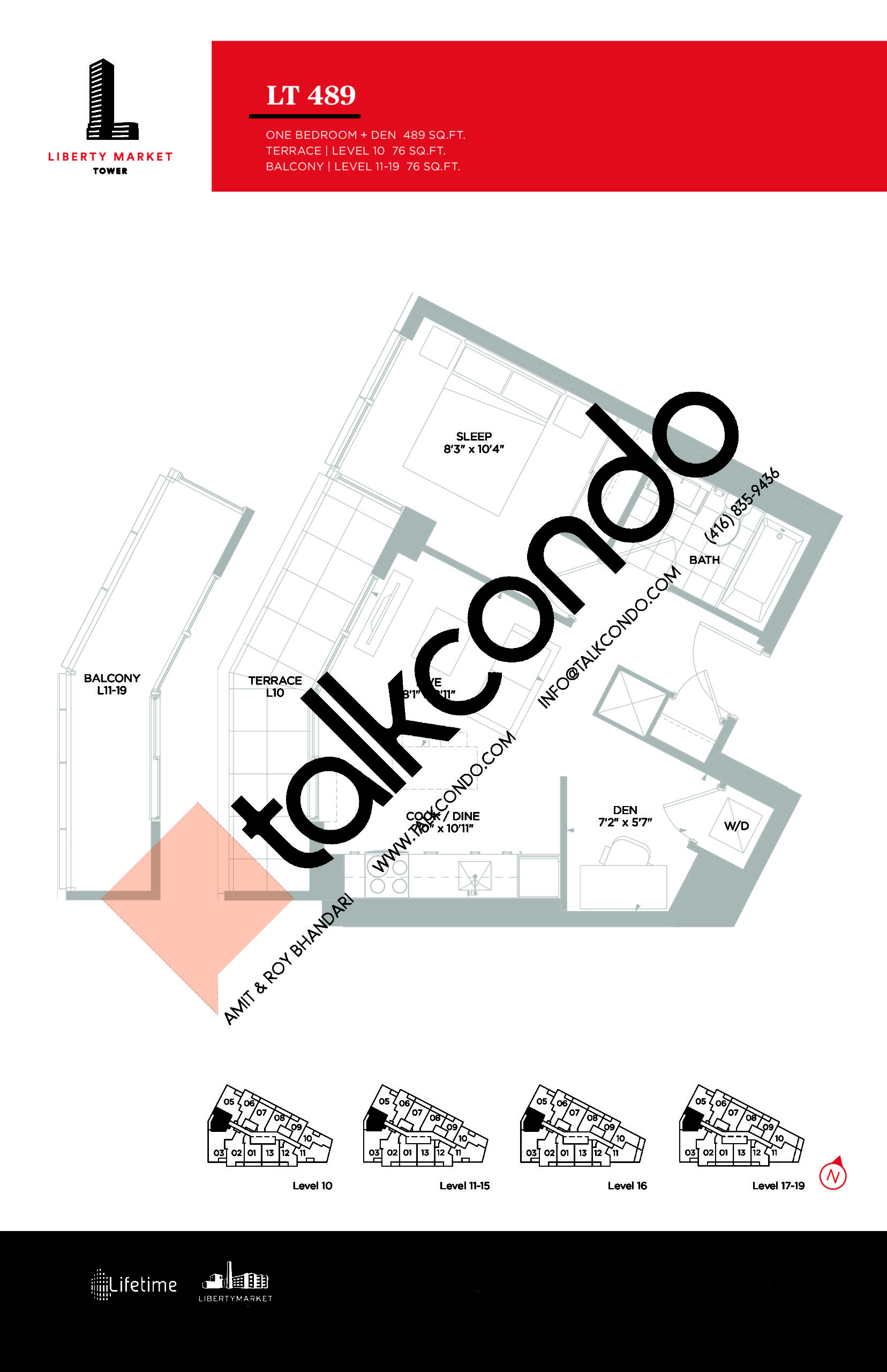 LT 489 - Terrace Collection Floor Plan at Liberty Market Tower Condos - 489 sq.ft