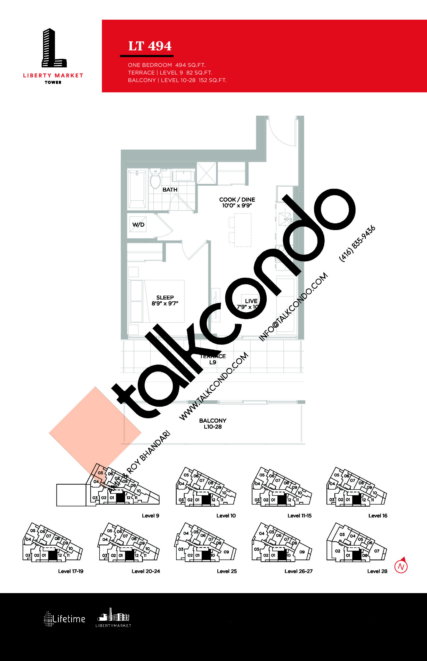 LT 494 Floor Plan at Liberty Market Tower Condos - 494 sq.ft