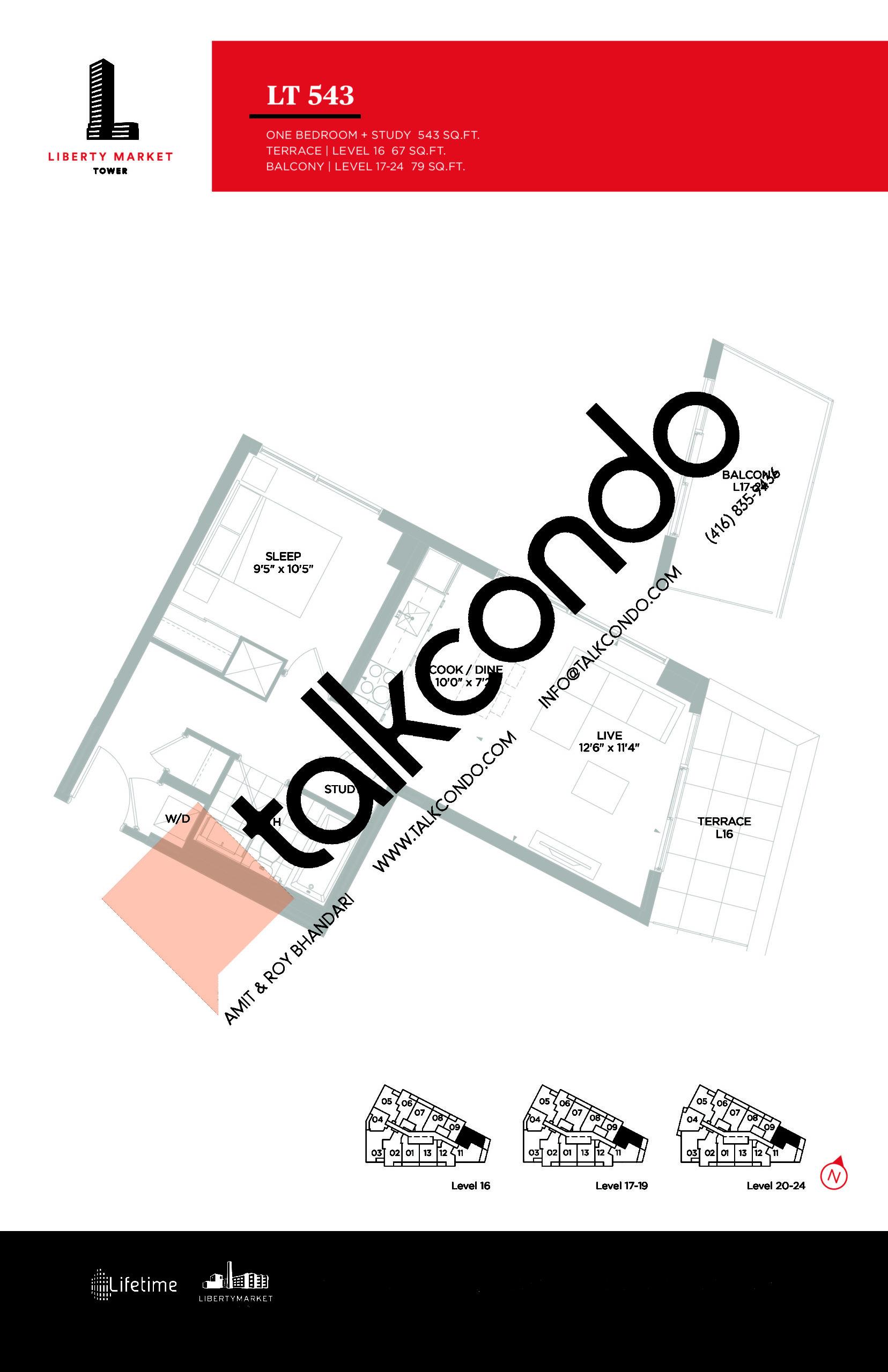 LT 543 Floor Plan at Liberty Market Tower Condos - 543 sq.ft