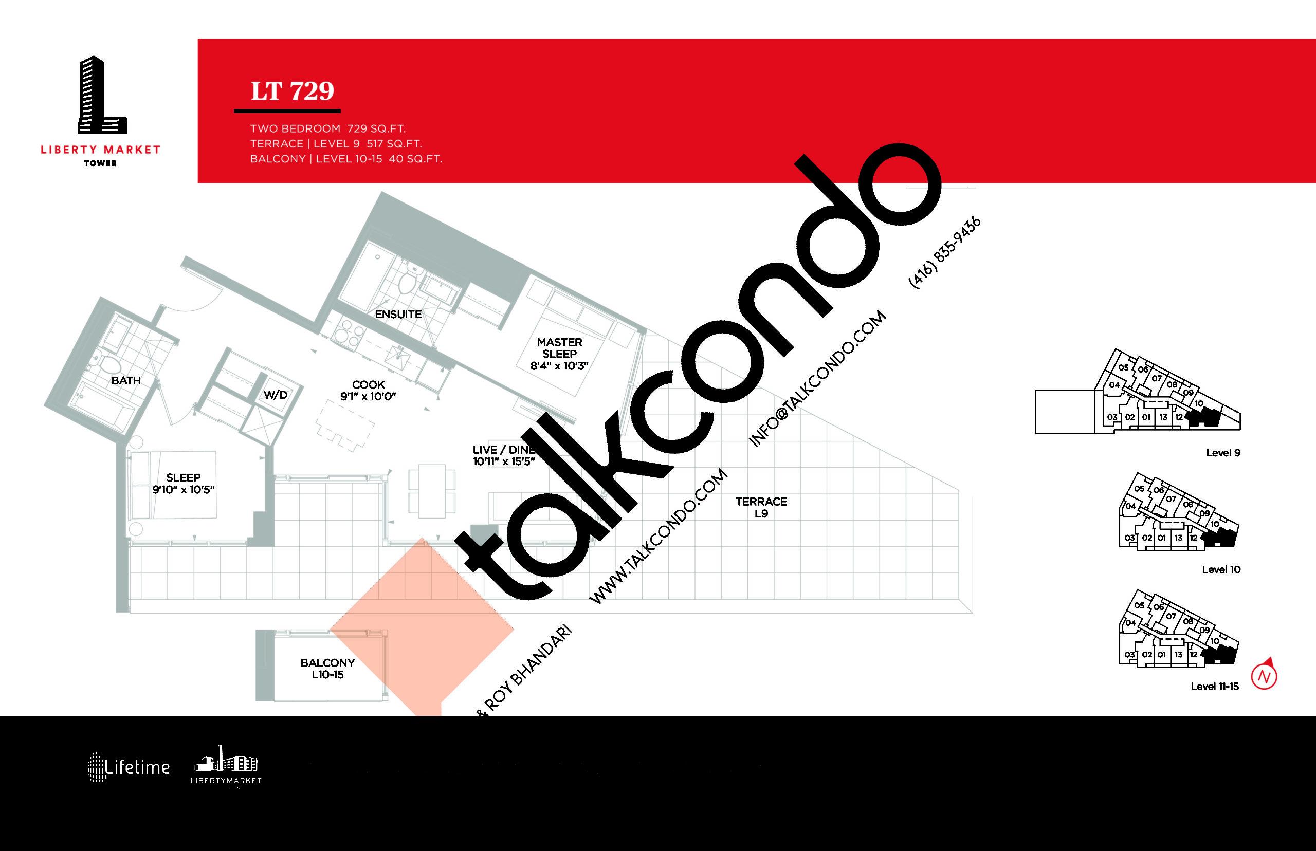 LT 729 Floor Plan at Liberty Market Tower Condos - 729 sq.ft