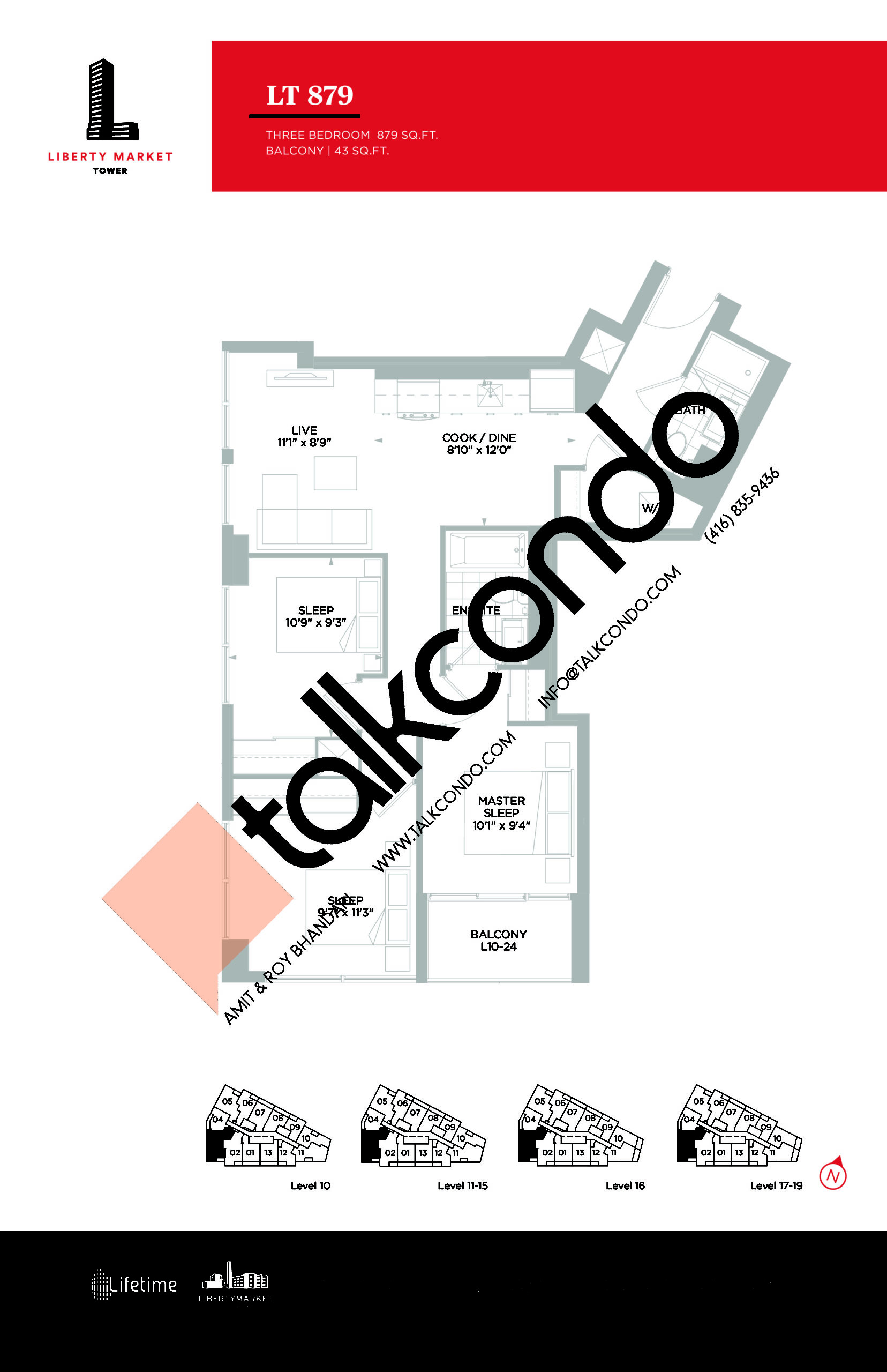 LT 879 - Tower Collection Floor Plan at Liberty Market Tower Condos - 879 sq.ft