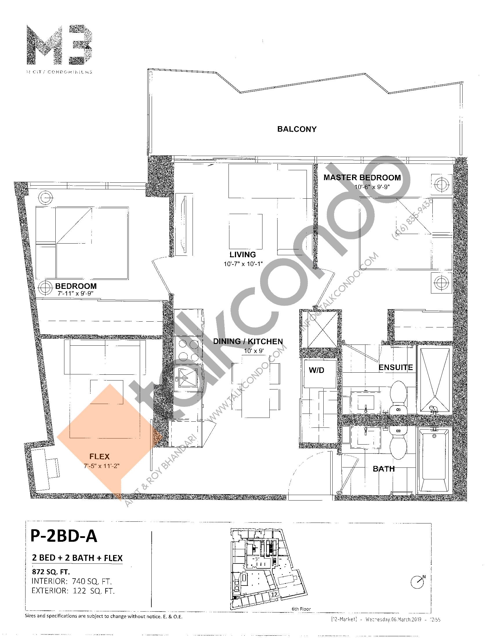 P-2BD-A Floor Plan at M3 Condos - 740 sq.ft