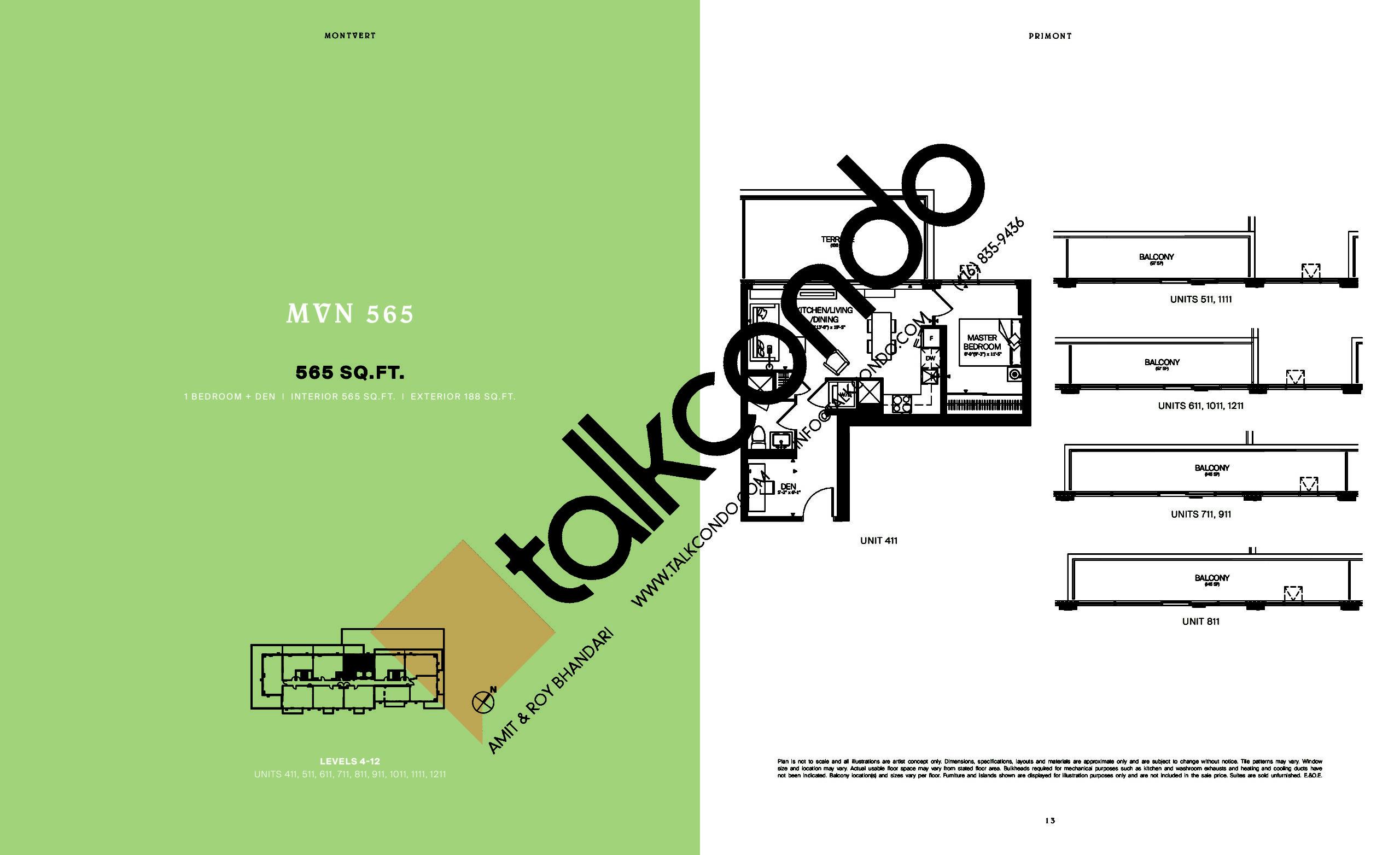 MVN 565 Floor Plan at MontVert Condos - 565 sq.ft