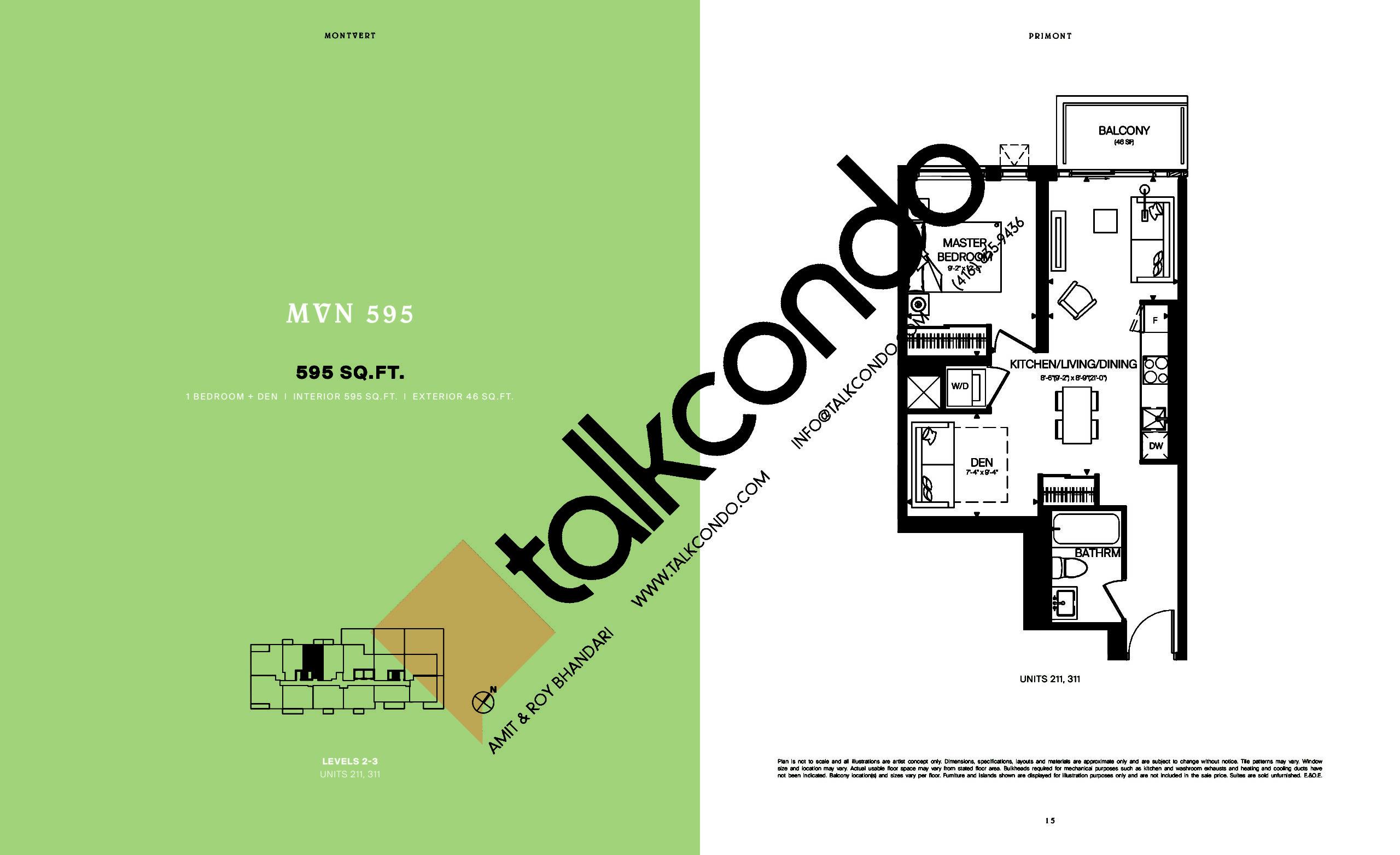 MVN 595 Floor Plan at MontVert Condos - 595 sq.ft
