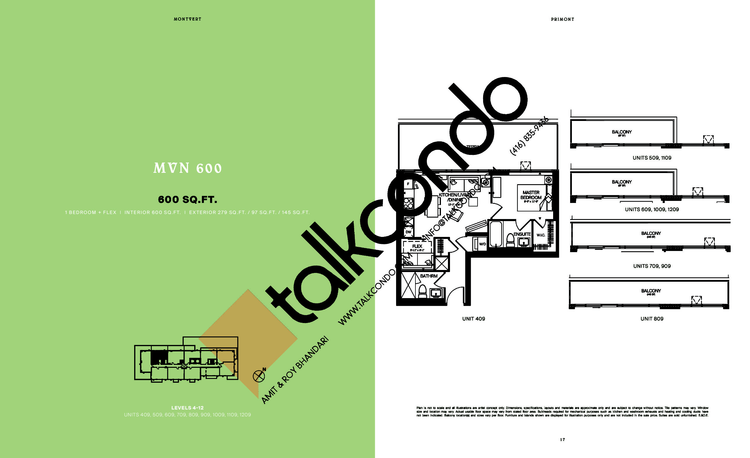 MVN 600 Floor Plan at MontVert Condos - 600 sq.ft