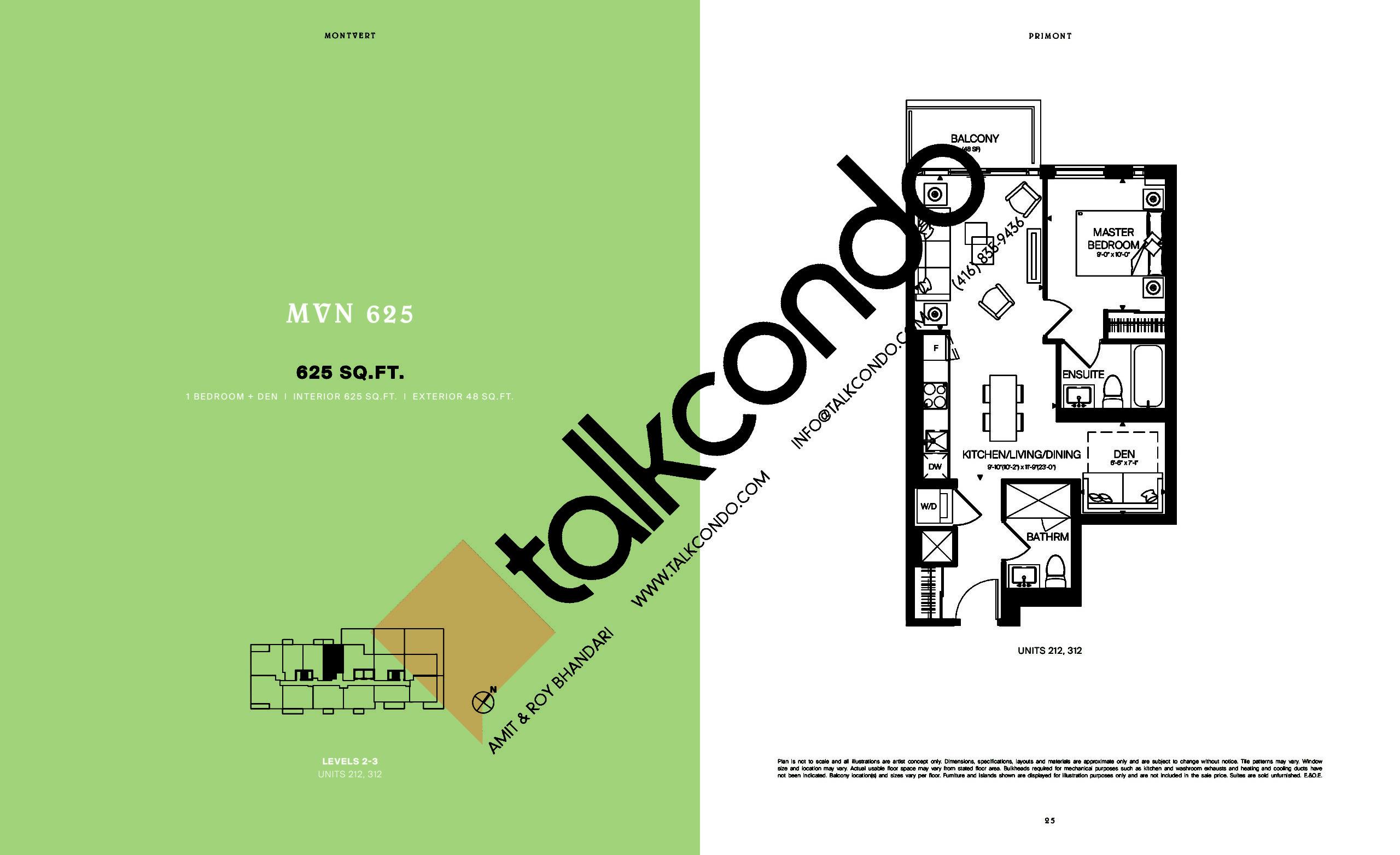 MVN 625 Floor Plan at MontVert Condos - 625 sq.ft