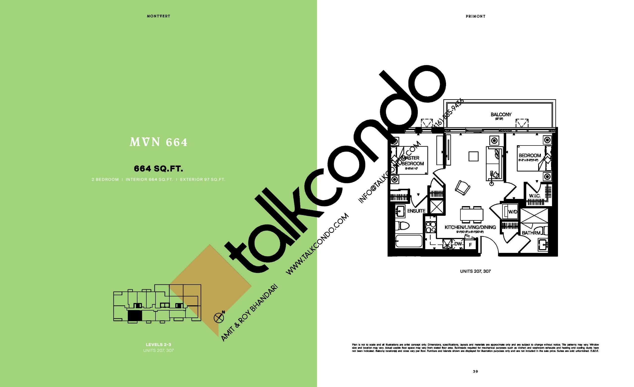 MVN 664 Floor Plan at MontVert Condos - 664 sq.ft