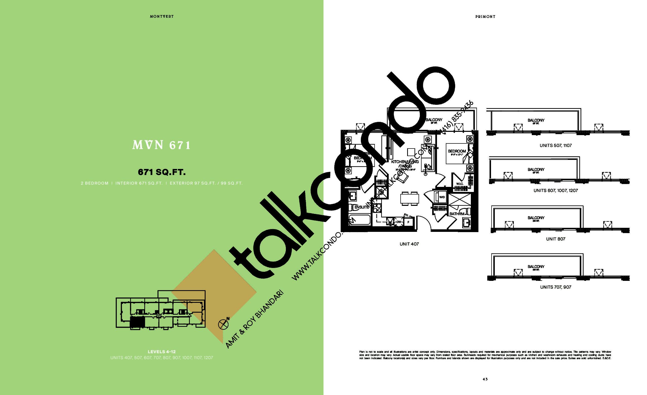 MVN 671 Floor Plan at MontVert Condos - 671 sq.ft