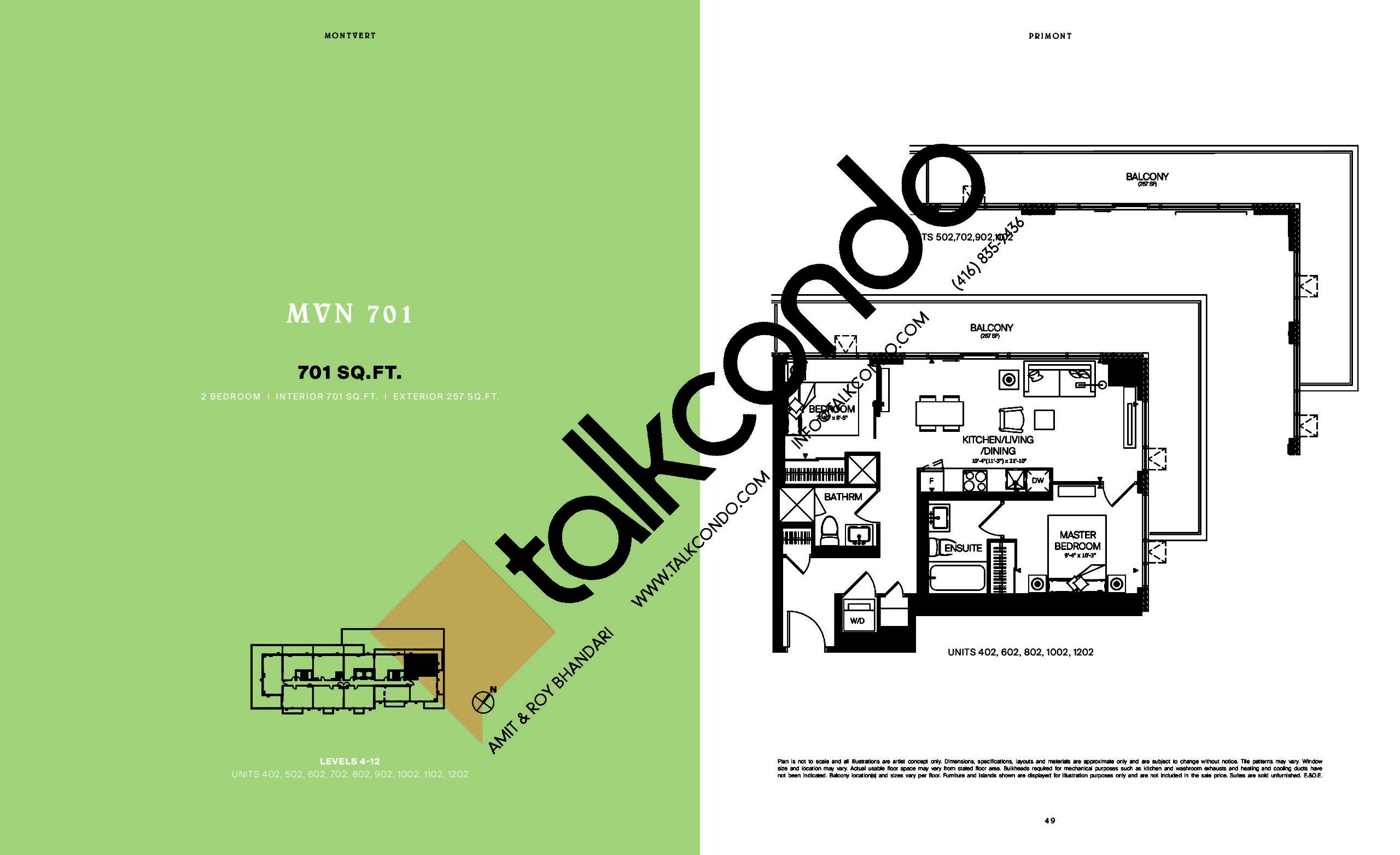 MVN 701 Floor Plan at MontVert Condos - 701 sq.ft