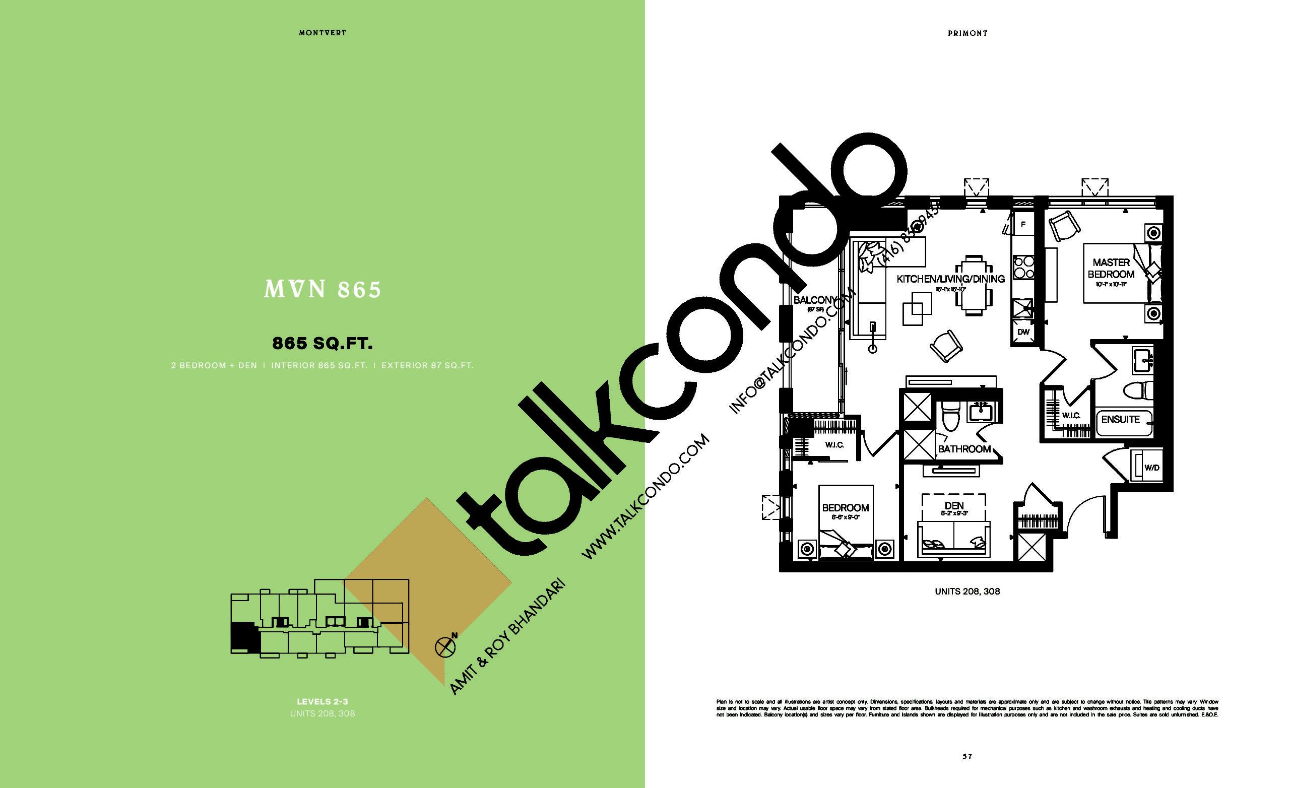 MVN 865 Floor Plan at MontVert Condos - 865 sq.ft