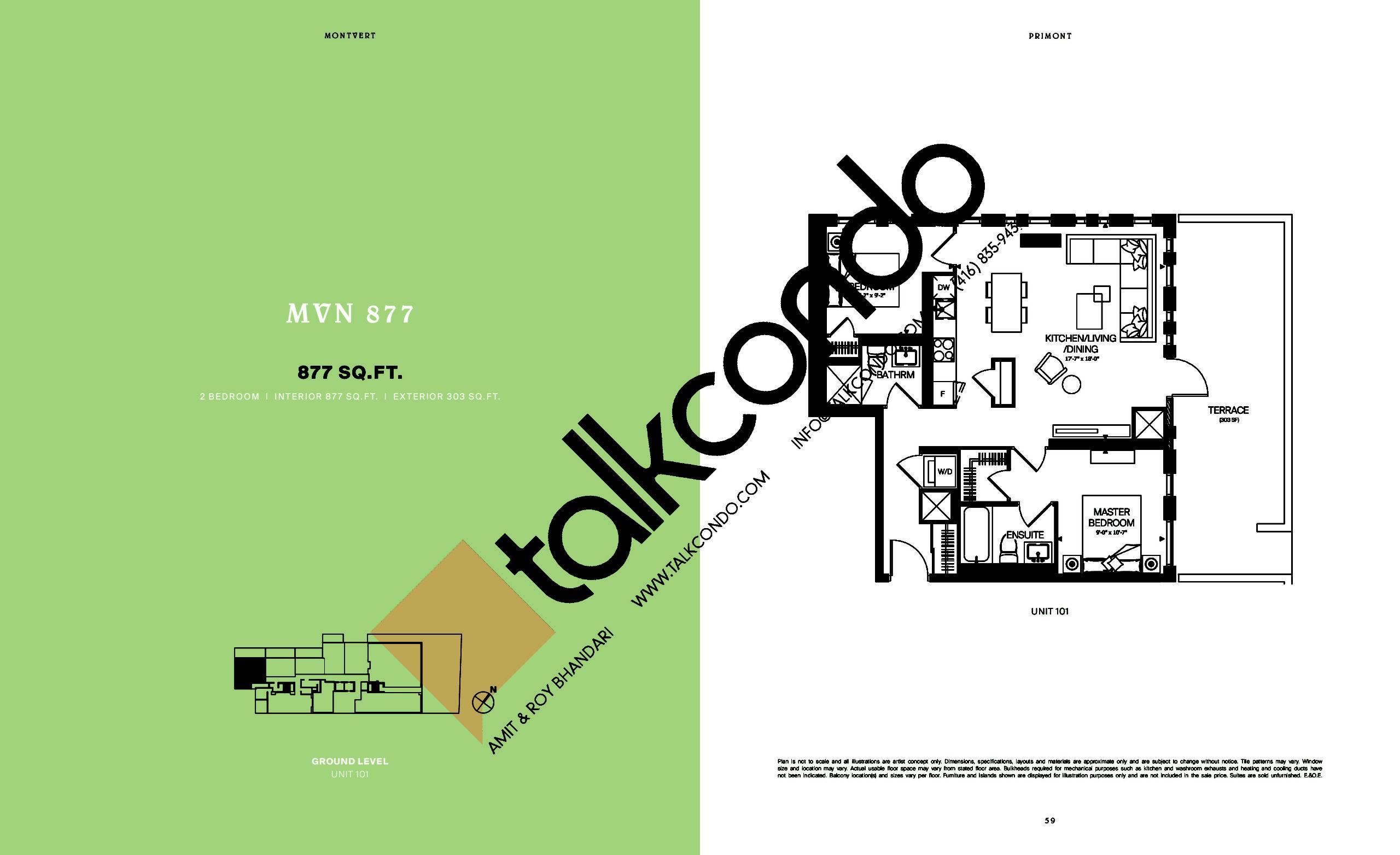 MVN 877 Floor Plan at MontVert Condos - 877 sq.ft