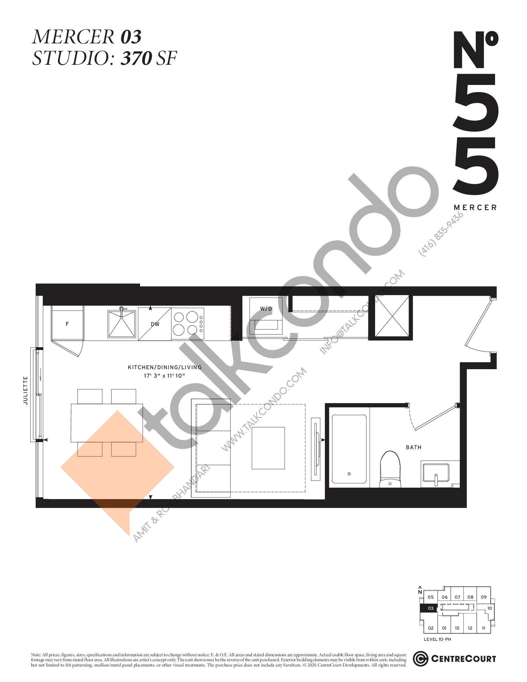Mercer 03 Floor Plan at No. 55 Mercer Condos - 370 sq.ft