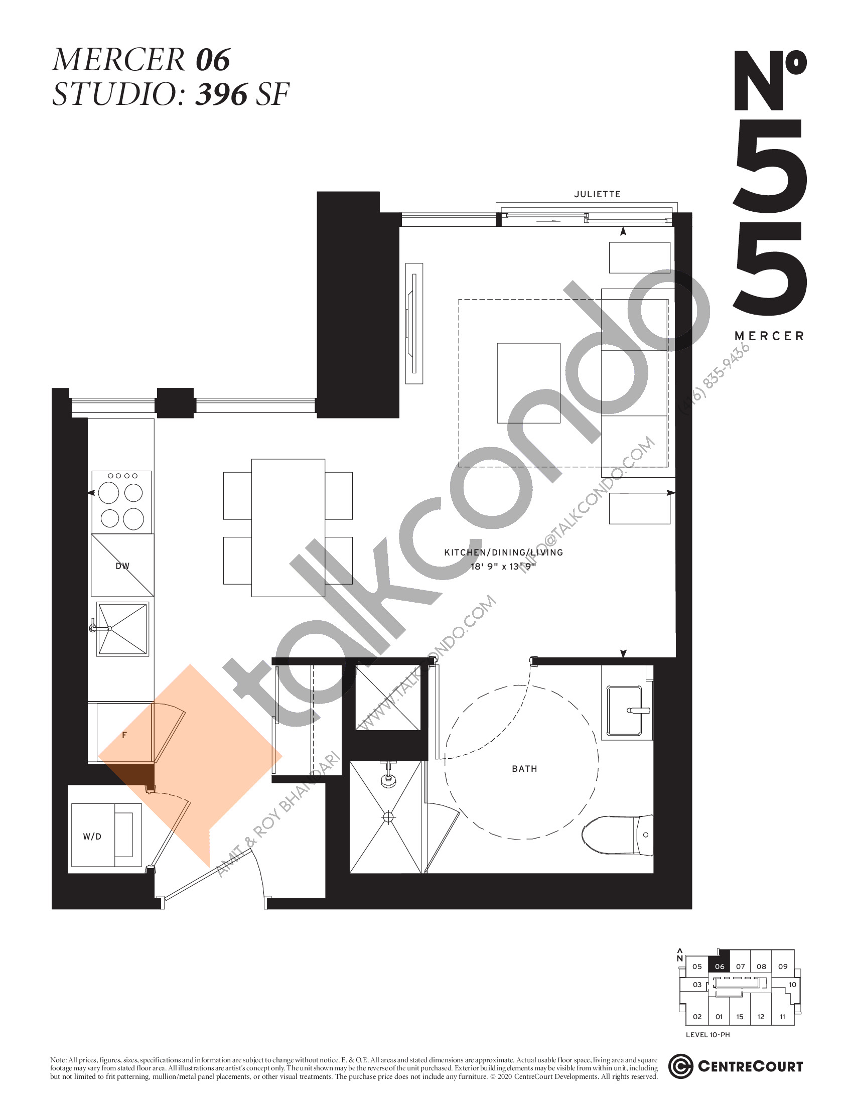 Mercer 06 Floor Plan at No. 55 Mercer Condos - 396 sq.ft