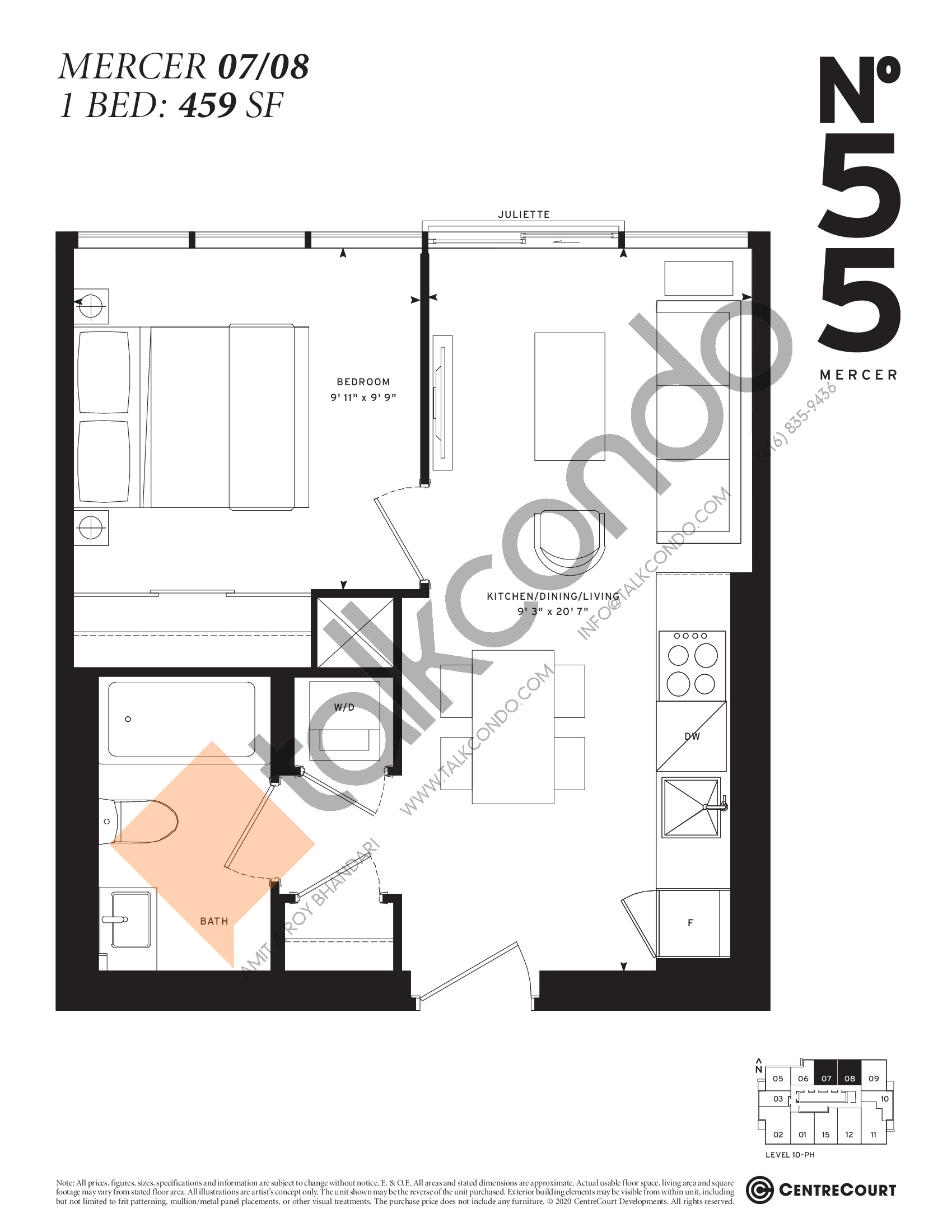 Mercer 07/08 Floor Plan at No. 55 Mercer Condos - 459 sq.ft