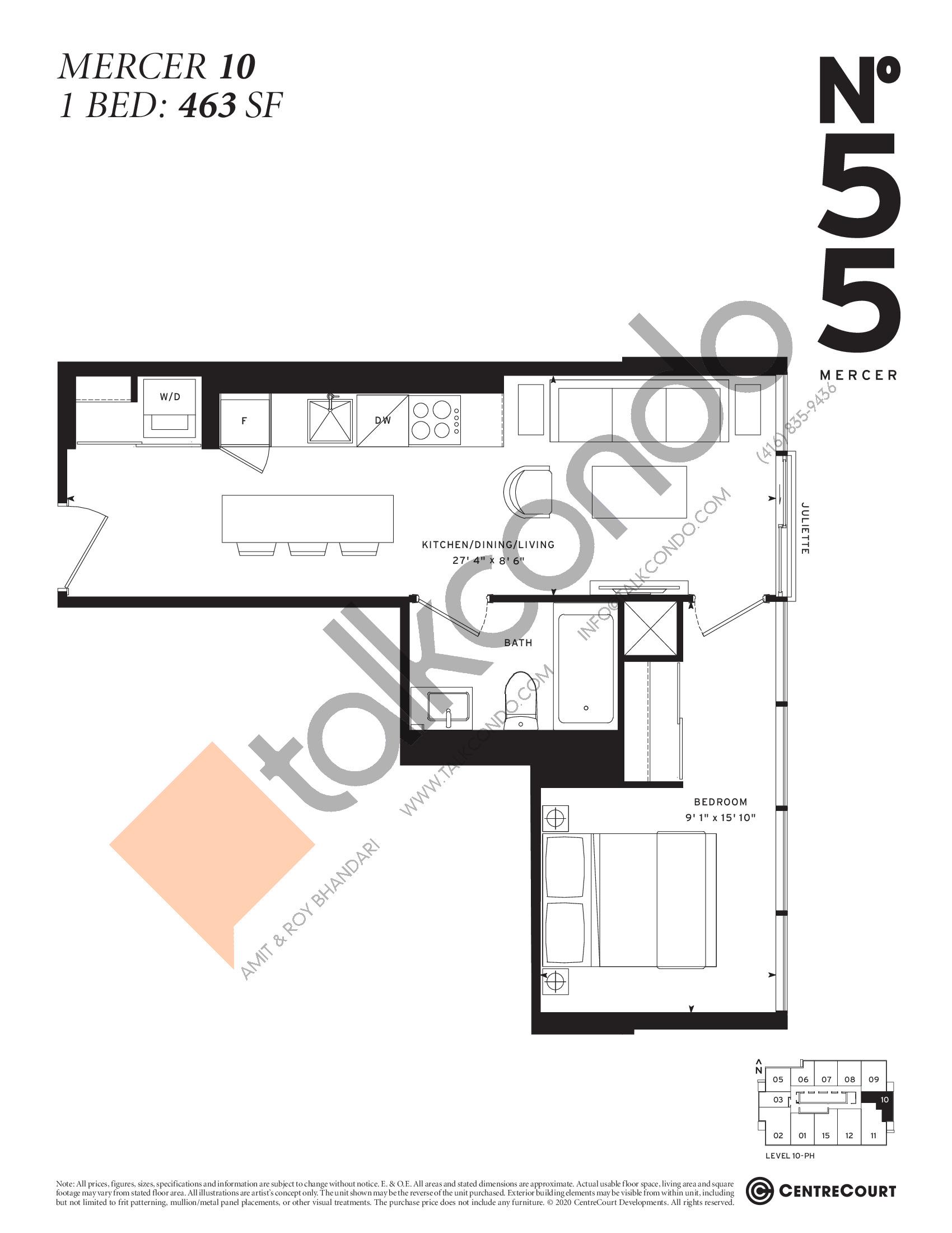 Mercer 10 Floor Plan at No. 55 Mercer Condos - 463 sq.ft