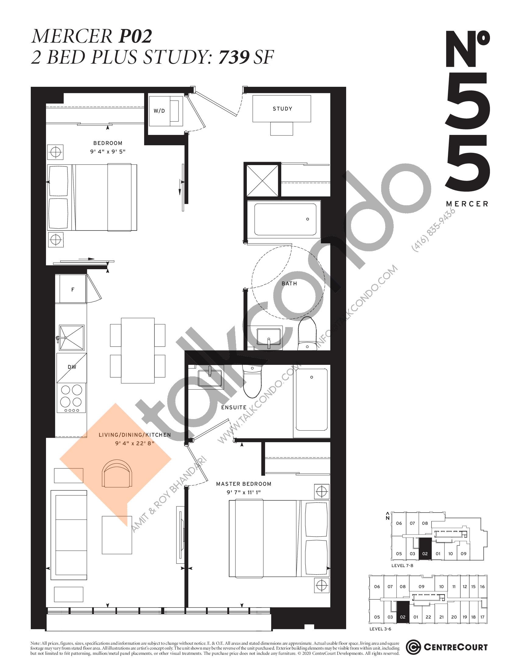 Mercer P02 Floor Plan at No. 55 Mercer Condos - 739 sq.ft
