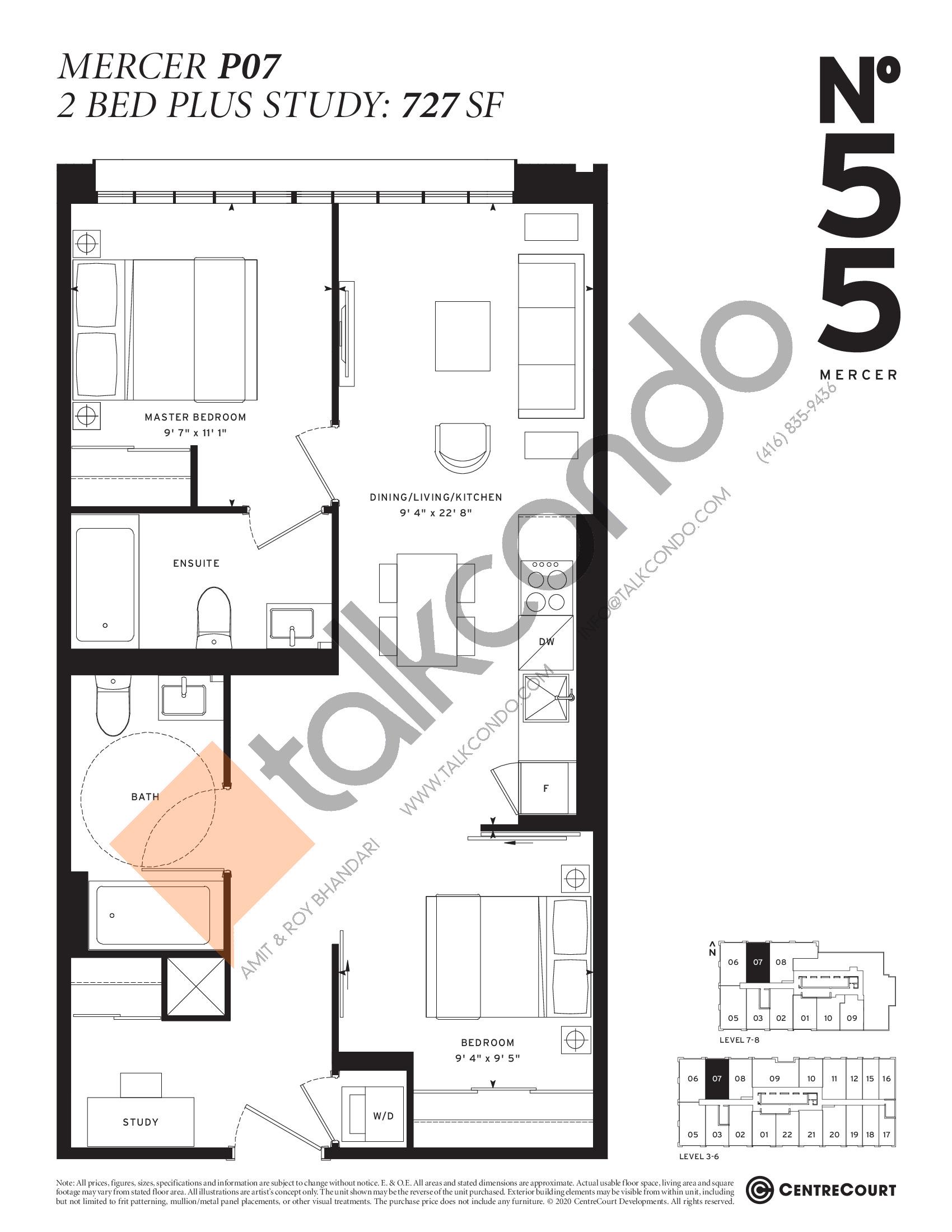 Mercer P07 Floor Plan at No. 55 Mercer Condos - 727 sq.ft