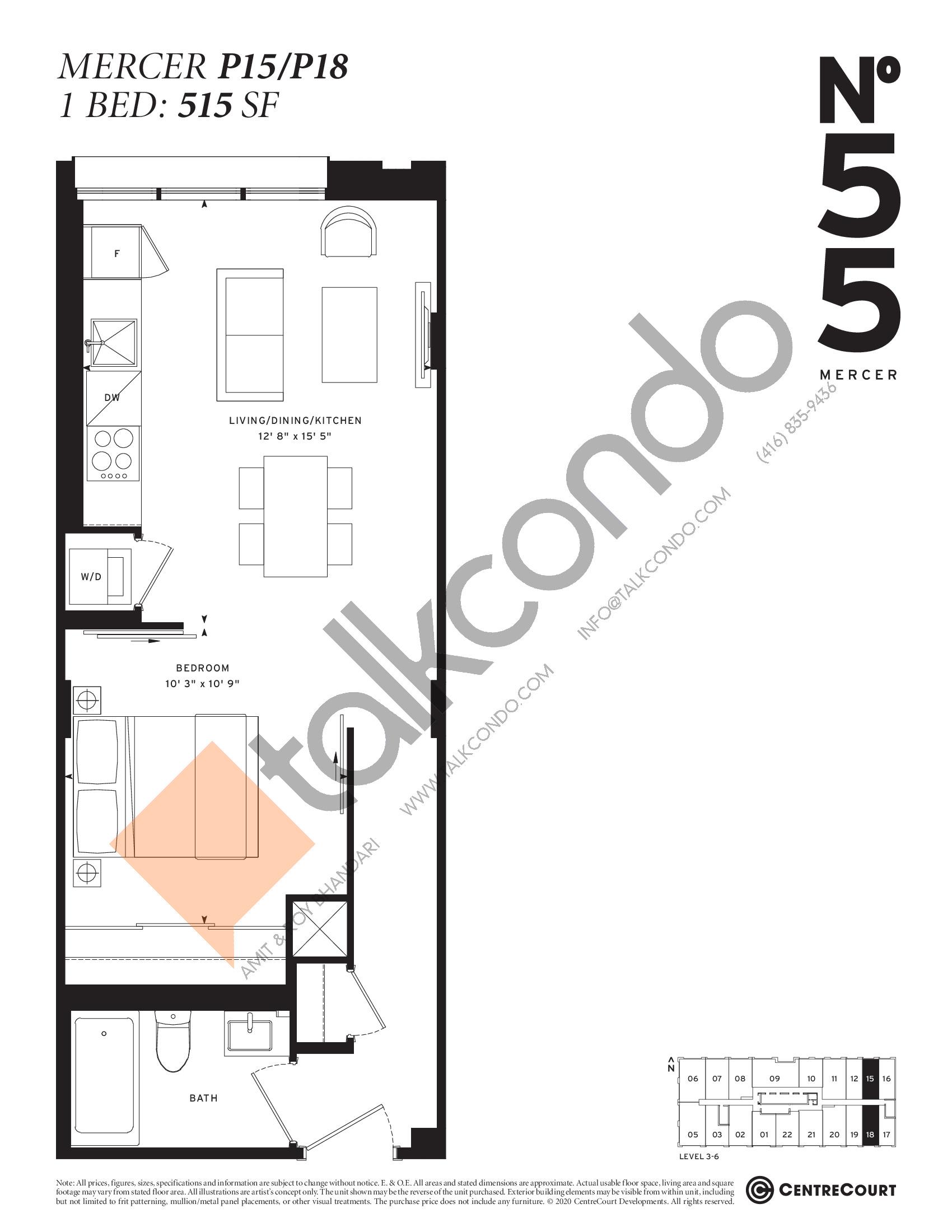 Mercer P15/P18 Floor Plan at No. 55 Mercer Condos - 515 sq.ft