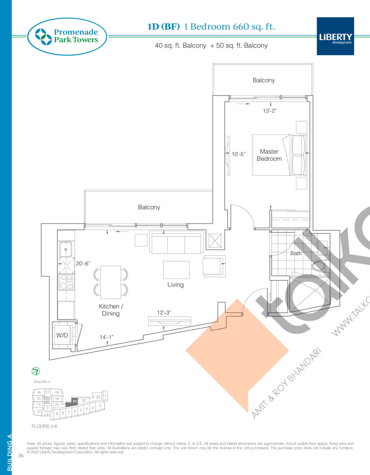 1D (BF) Floor Plan at Promenade Park Towers Phase 2 Condos - 660 sq.ft