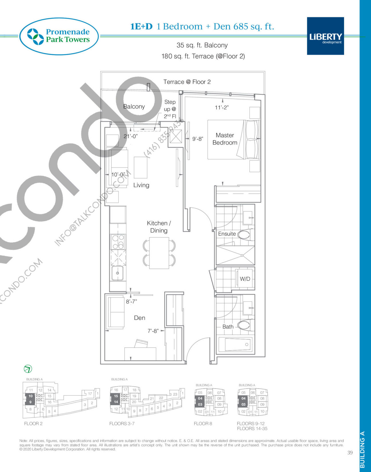 1E+D Floor Plan at Promenade Park Towers Phase 2 Condos - 685 sq.ft