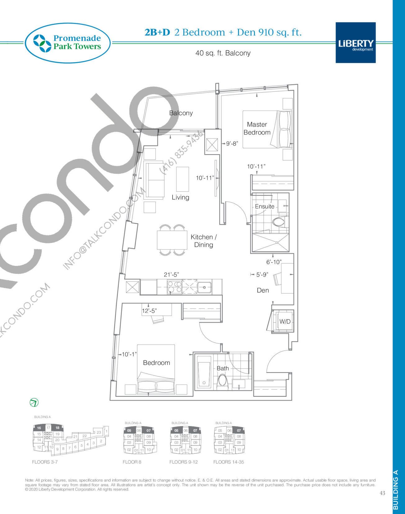 2B+D Floor Plan at Promenade Park Towers Phase 2 Condos - 910 sq.ft