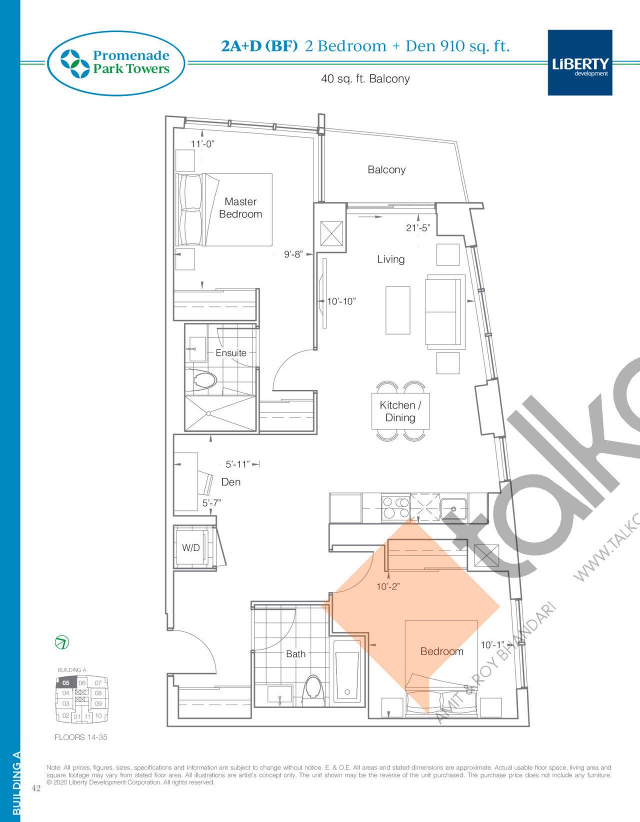 2A+D (BF) Floor Plan at Promenade Park Towers Phase 2 Condos - 910 sq.ft