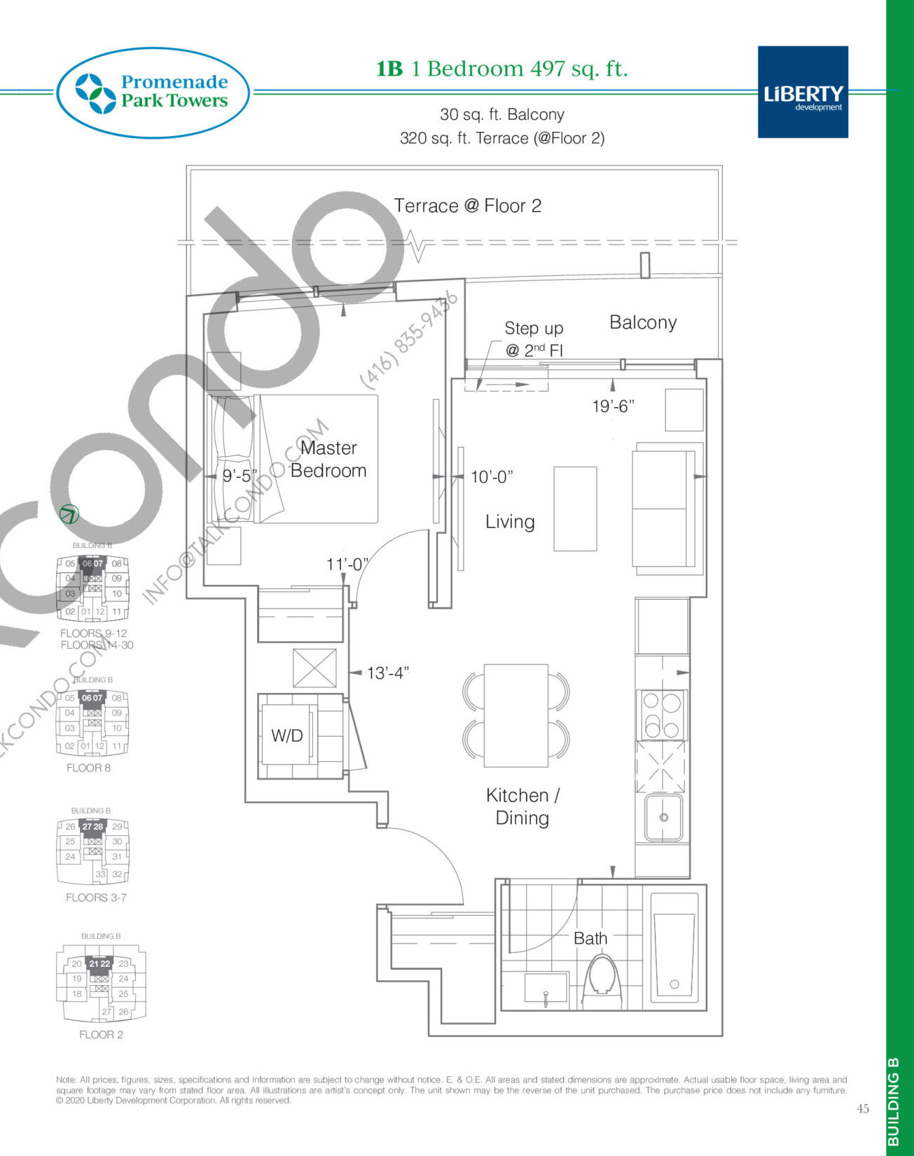 1B Floor Plan at Promenade Park Towers Phase 2 Condos - 497 sq.ft
