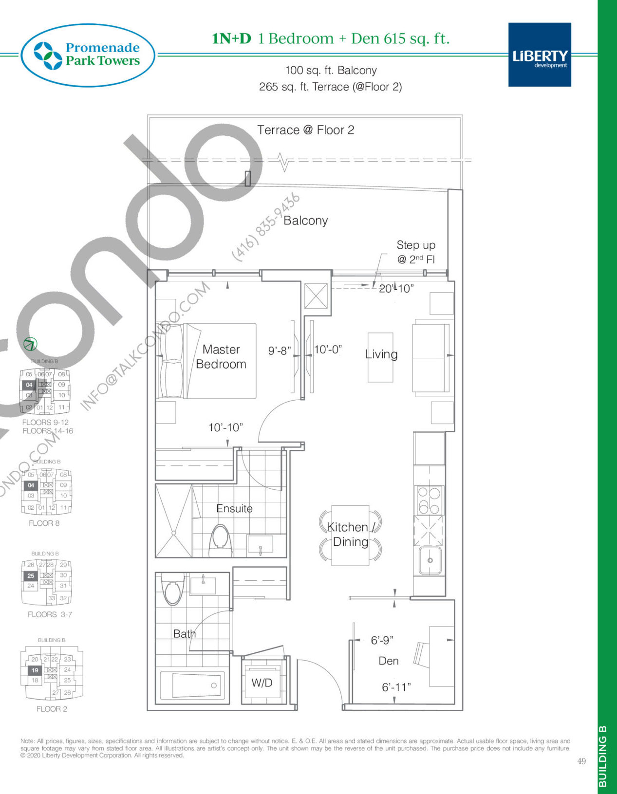 1N+D Floor Plan at Promenade Park Towers Phase 2 Condos - 615 sq.ft