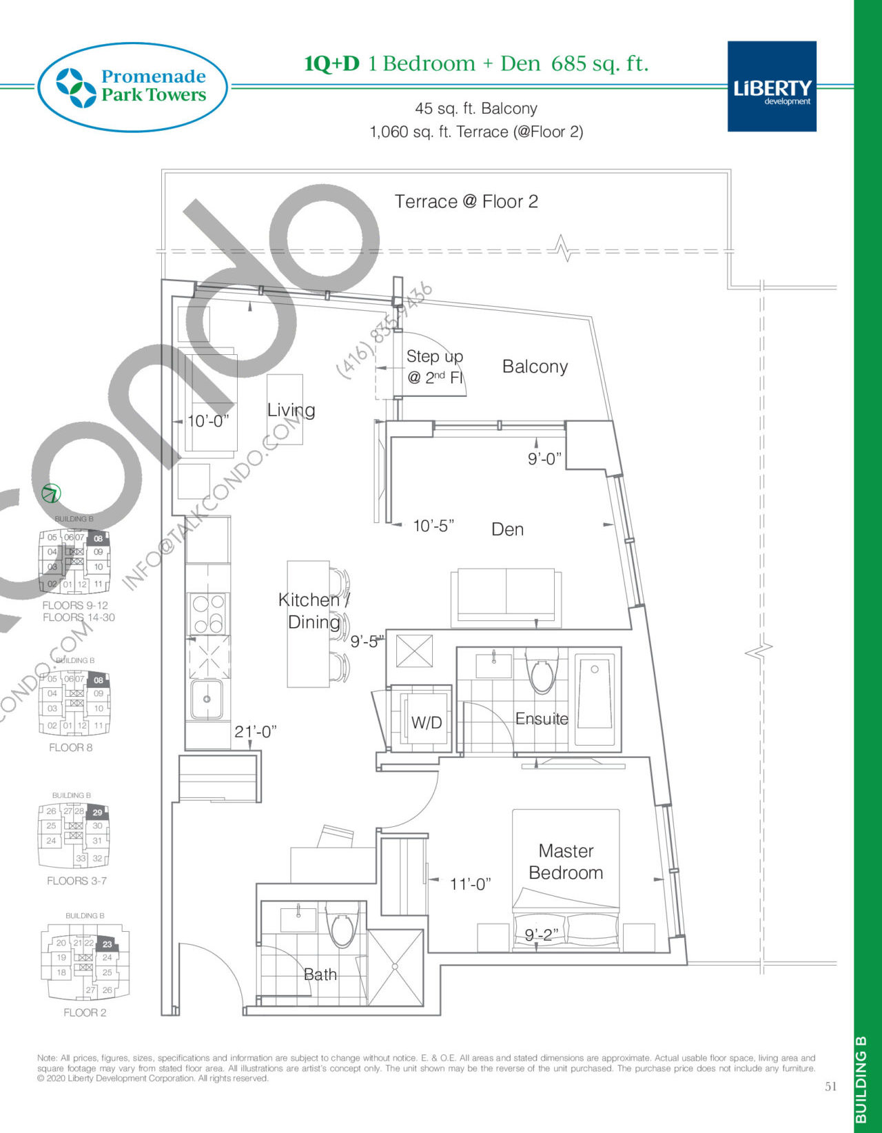 1Q+D Floor Plan at Promenade Park Towers Phase 2 Condos - 685 sq.ft