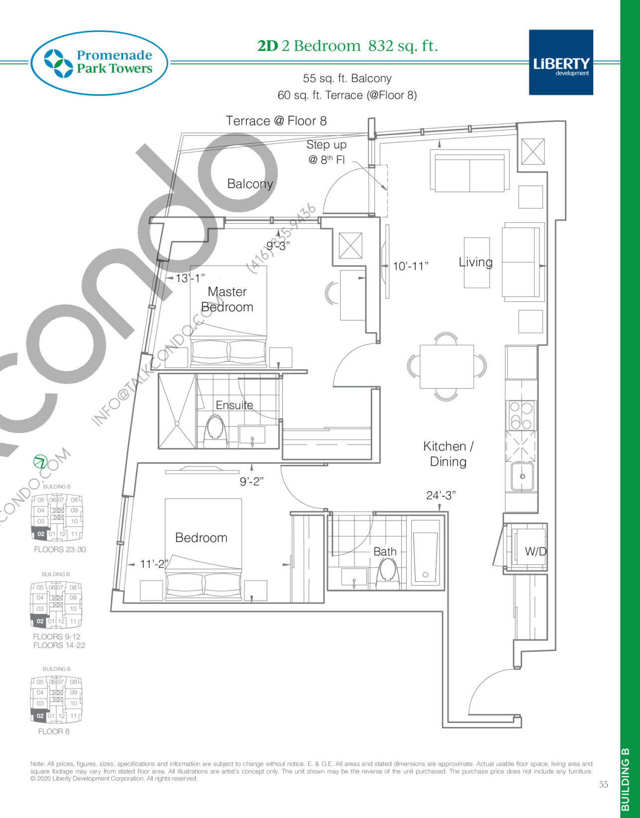 2D Floor Plan at Promenade Park Towers Phase 2 Condos - 832 sq.ft
