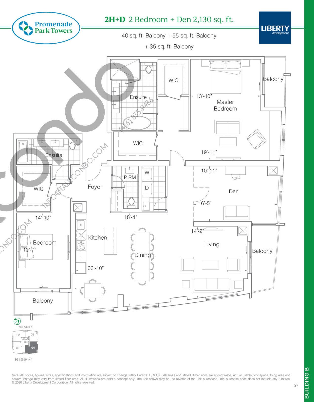 2H+D Floor Plan at Promenade Park Towers Phase 2 Condos - 2130 sq.ft