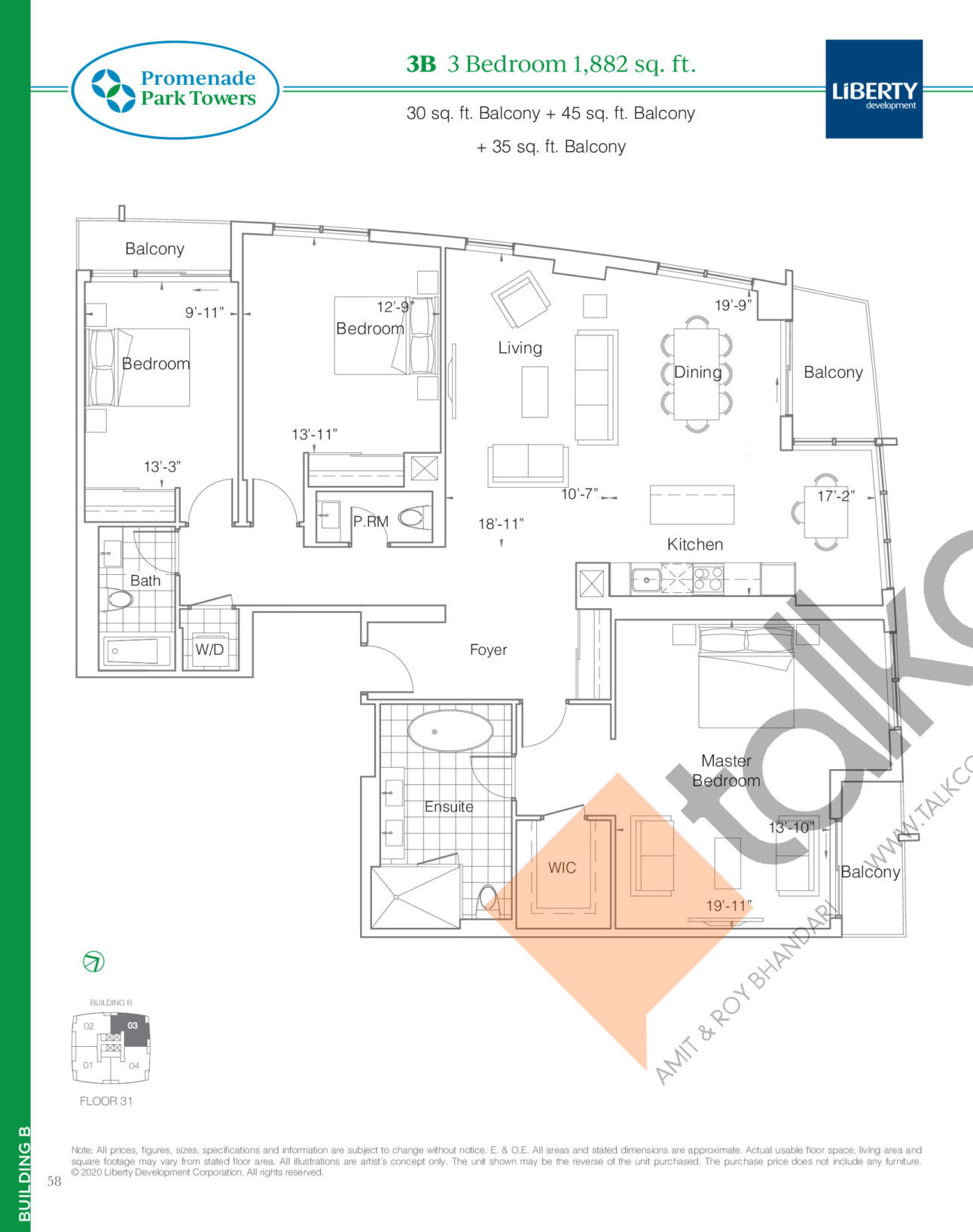 3B Floor Plan at Promenade Park Towers Phase 2 Condos - 1882 sq.ft