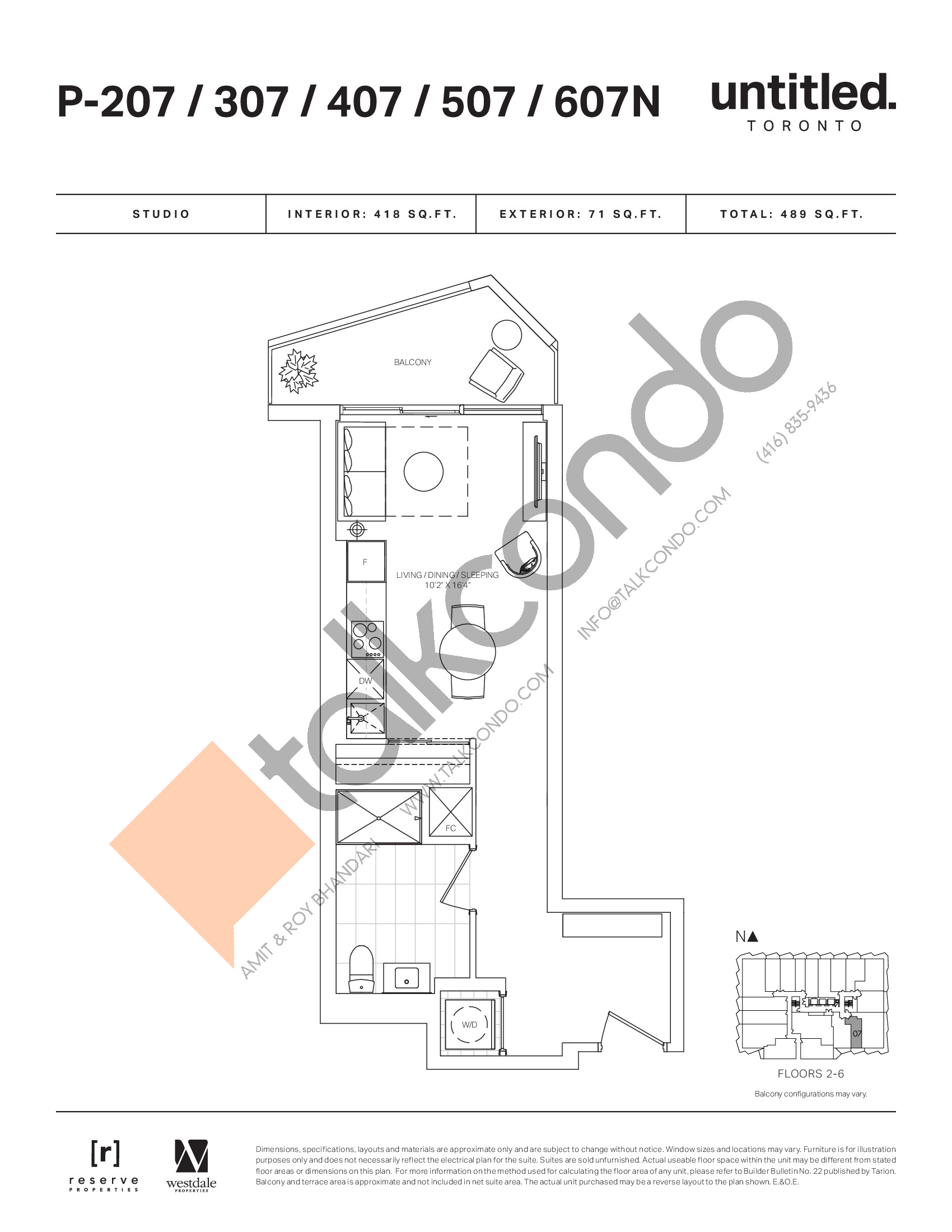 P-207/307/407/507/607N Floor Plan at Untitled North Tower Condos - 418 sq.ft