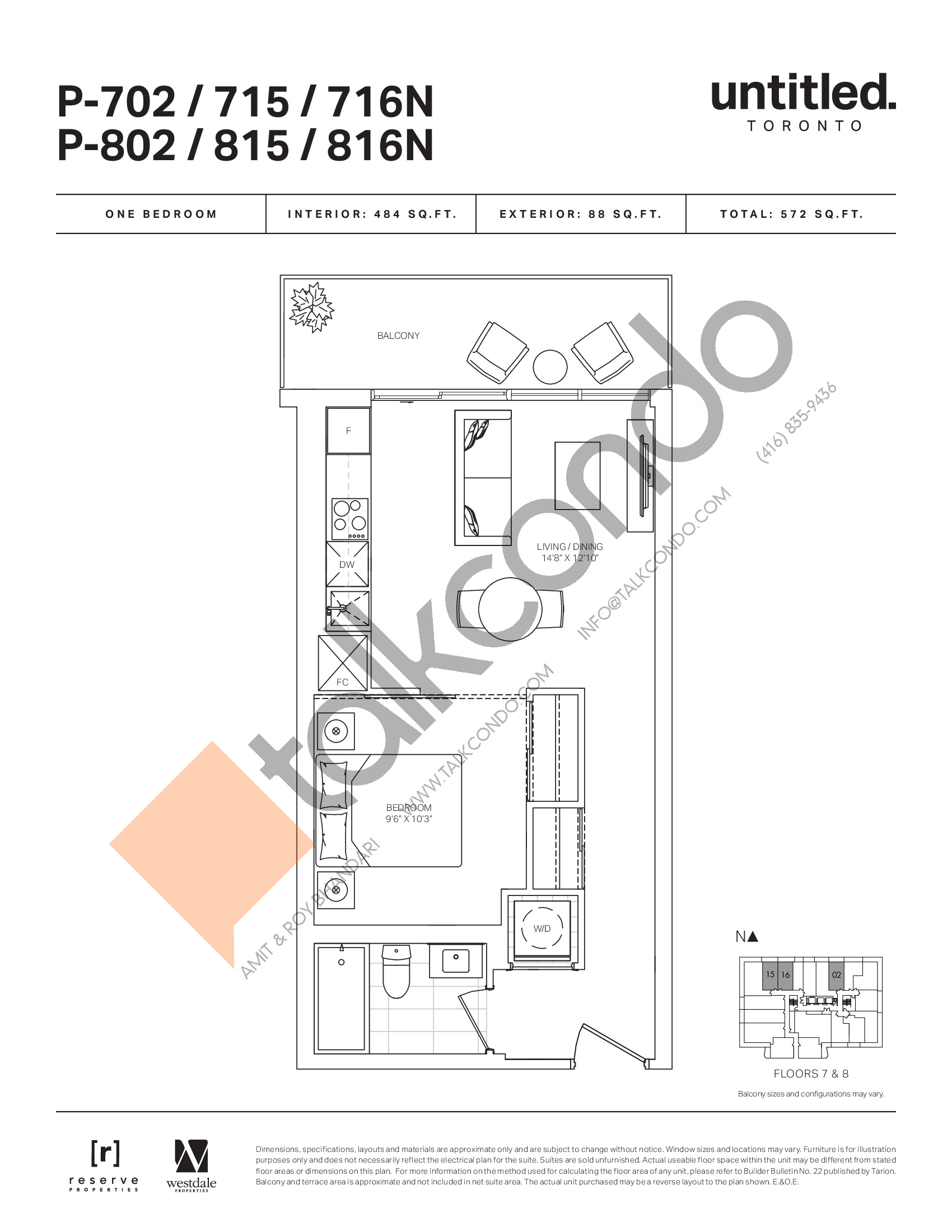P-702/715/716N P-802/815/816N Floor Plan at Untitled North Tower Condos - 484 sq.ft