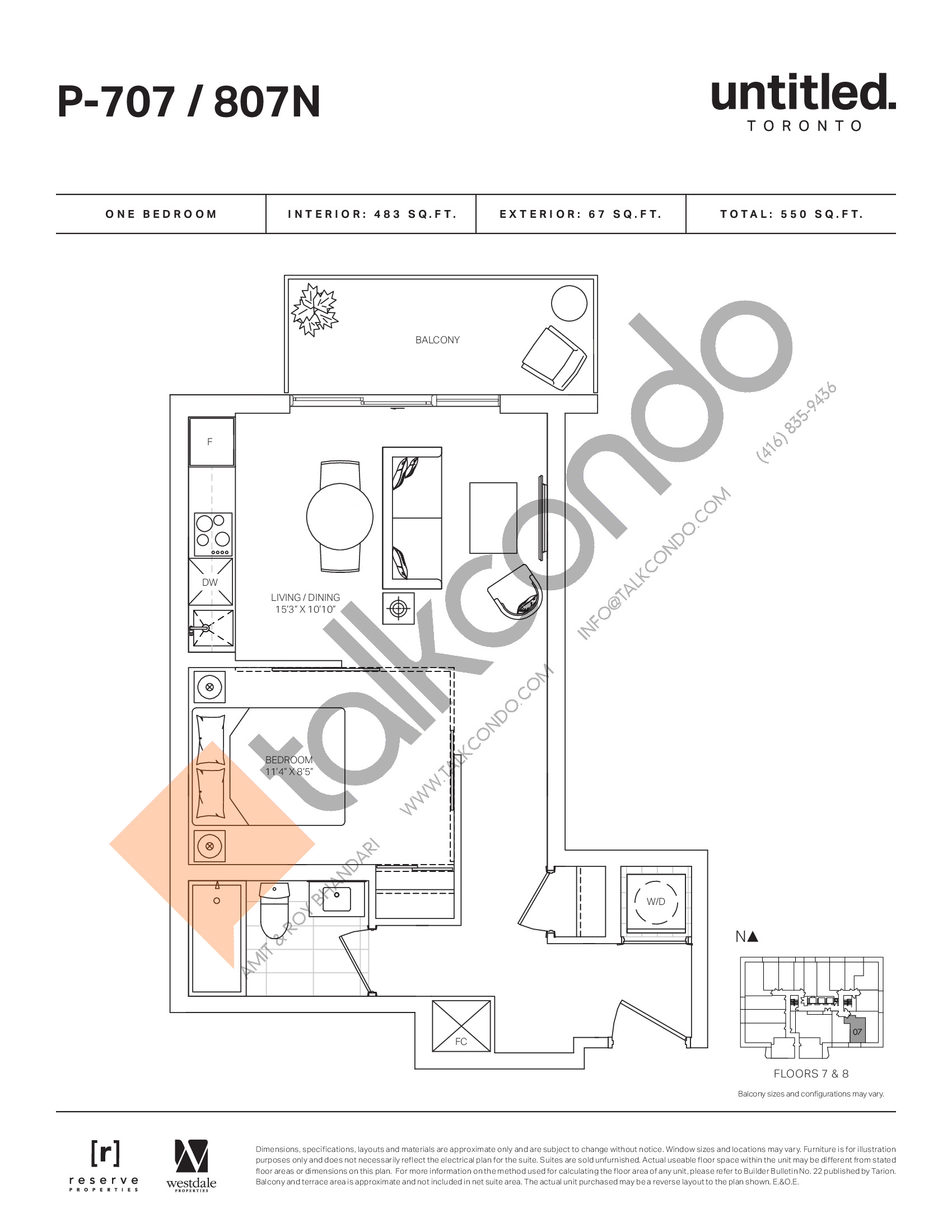 P-707/807N Floor Plan at Untitled North Tower Condos - 483 sq.ft