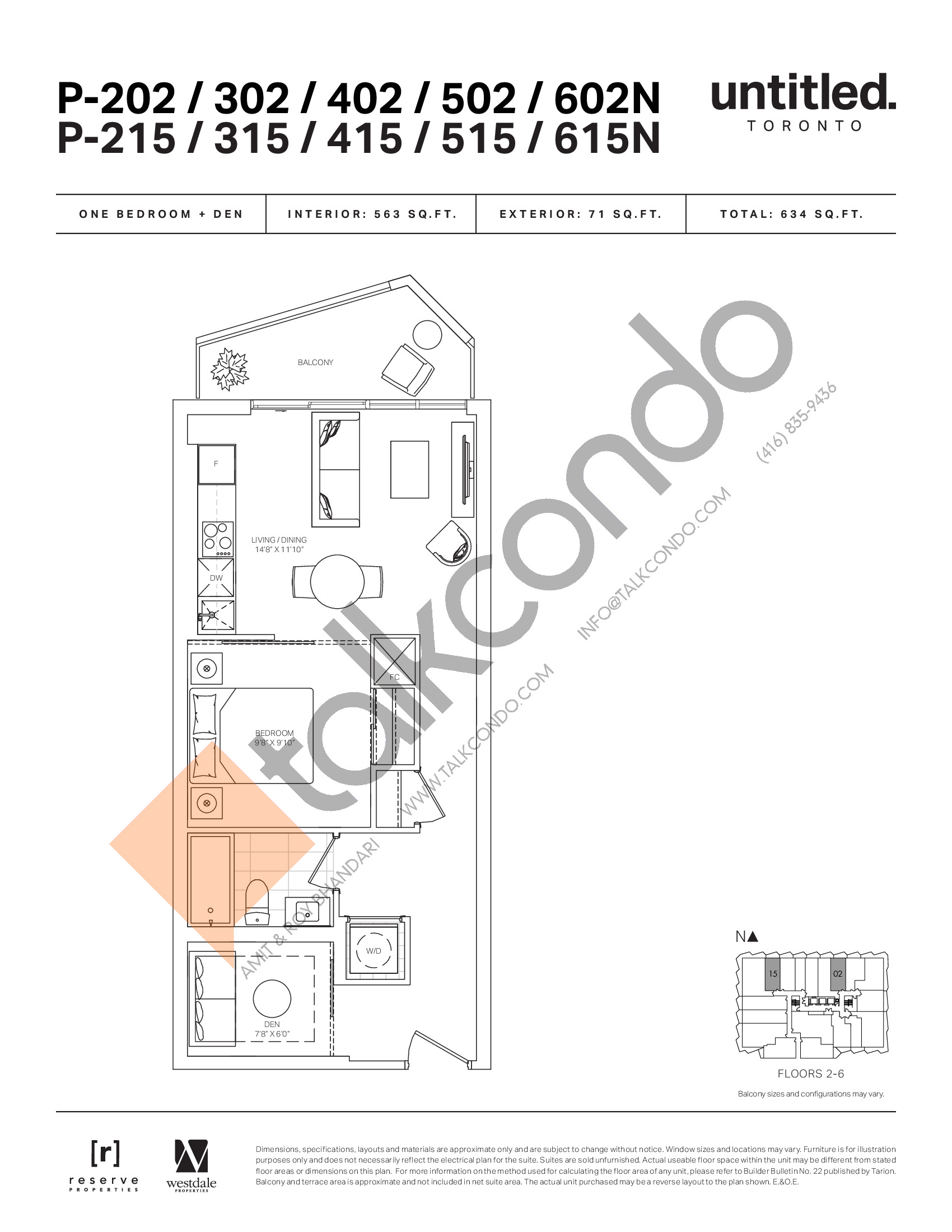 P-202/302/402/502/602N P-215/315/415/515/615N Floor Plan at Untitled North Tower Condos - 563 sq.ft