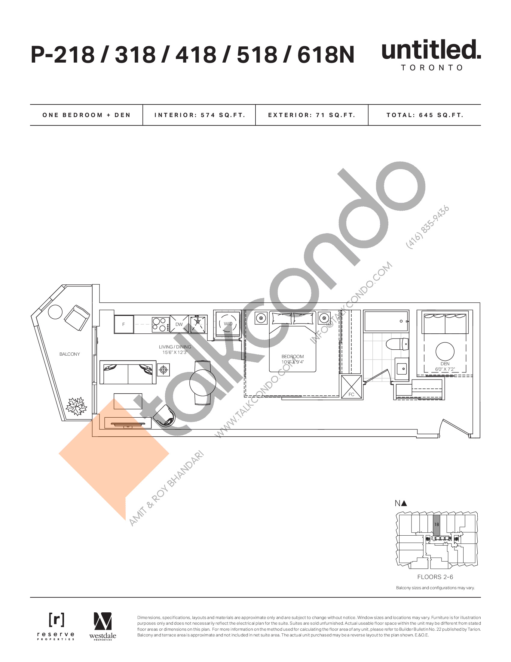 P-218/318/418/518/618N Floor Plan at Untitled North Tower Condos - 574 sq.ft